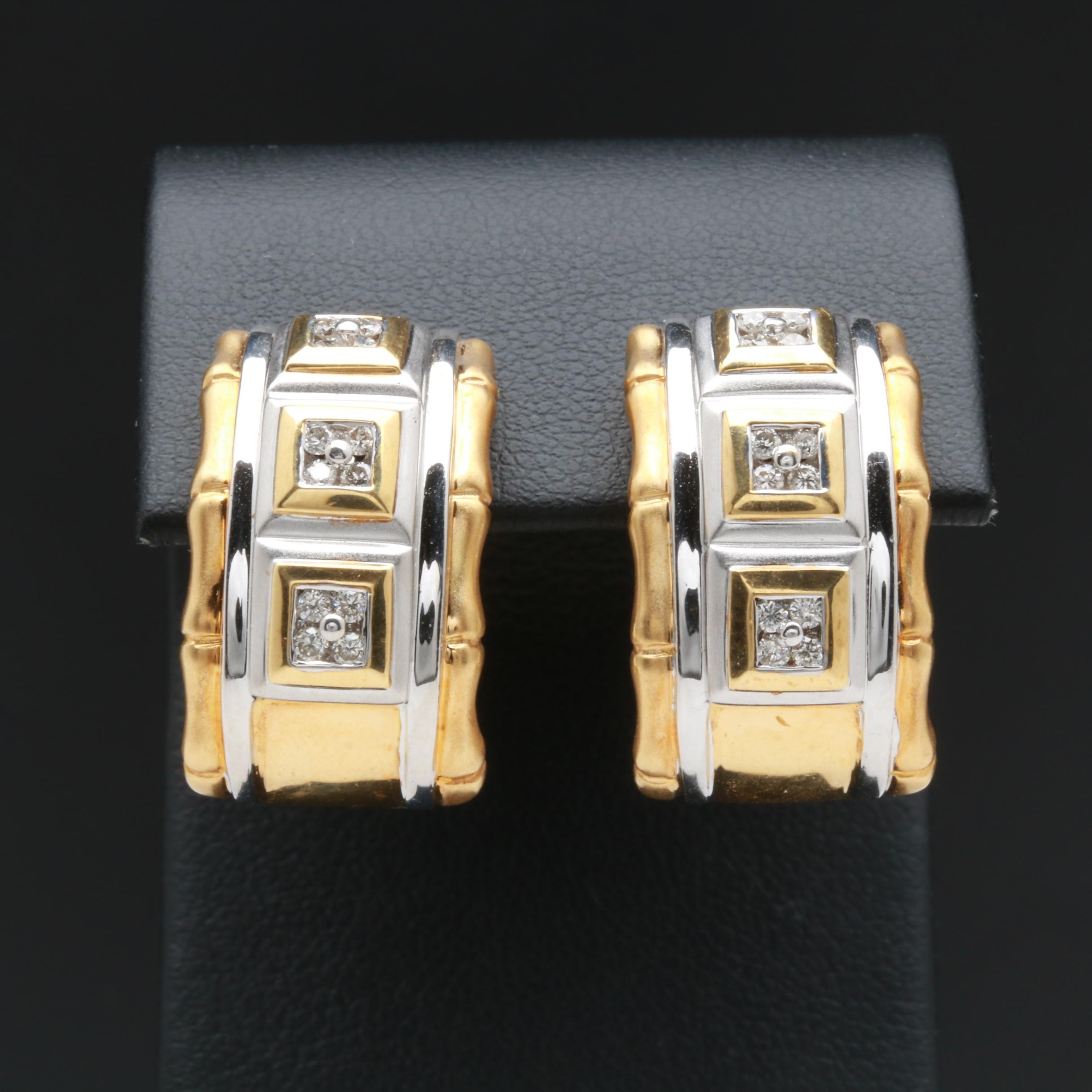 18K White and Yellow Gold Diamond Half Hoop Earrings