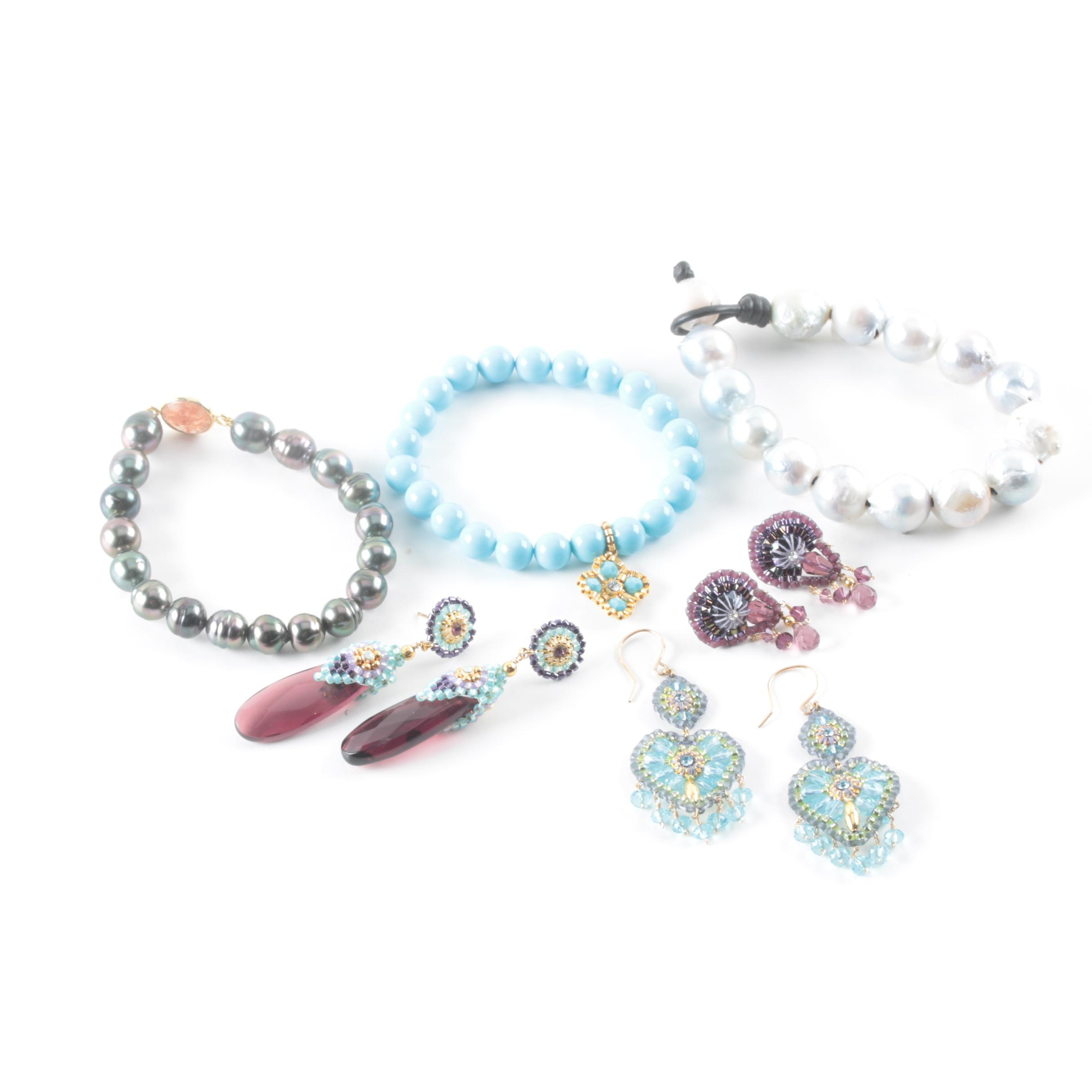 Cultured Pearl Glass and Imitation Pearl Jewelry Selection Including Miguel Ases