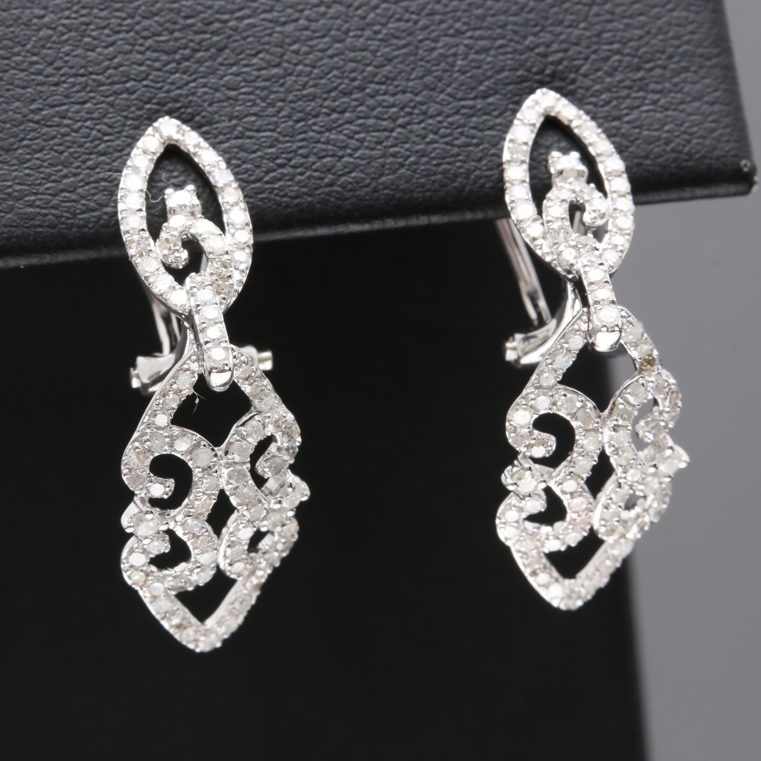 14K White Gold 0.98 CTW Diamond Earrings
