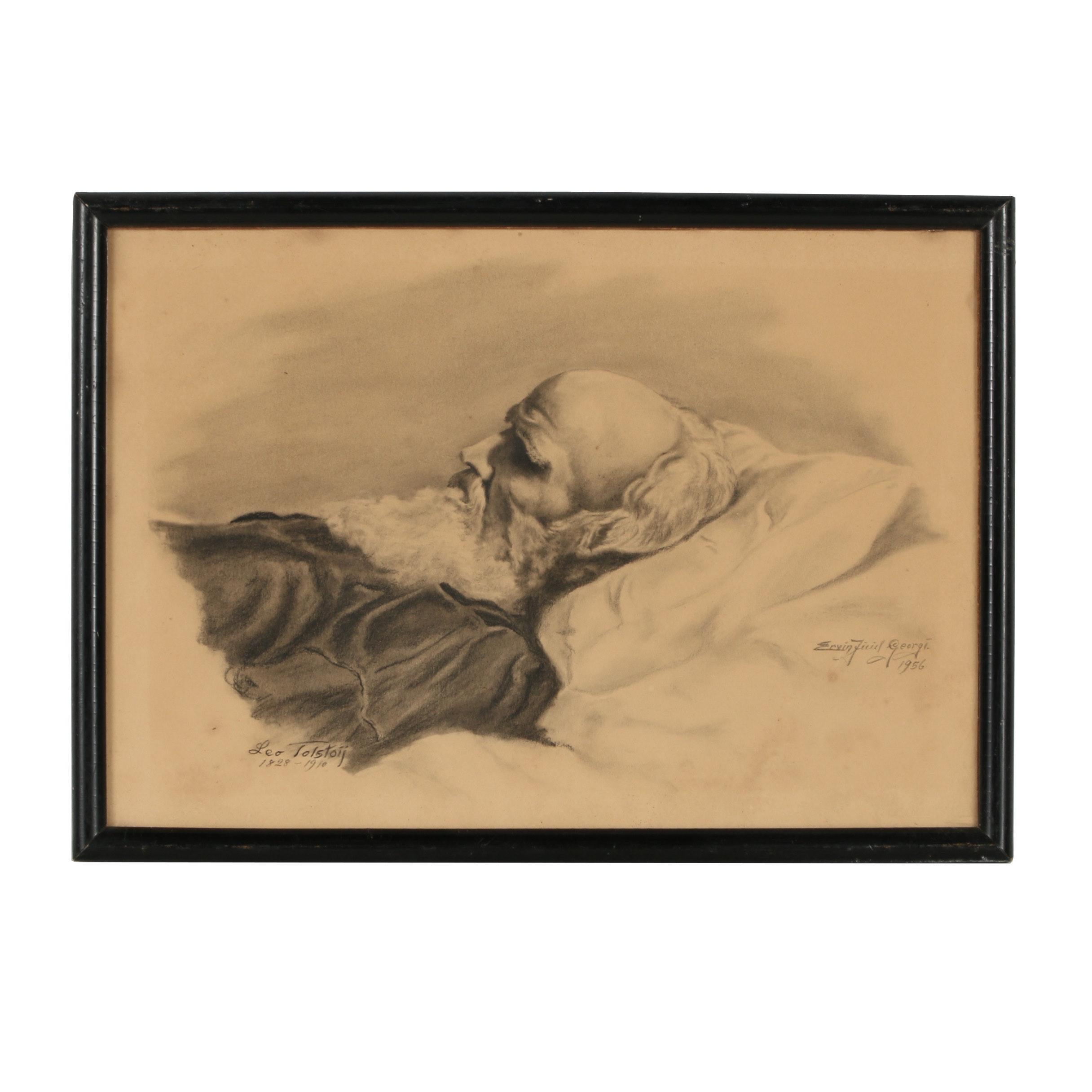 "Ervin Georgi Charcoal Drawing ""Leo Tolstoij"""