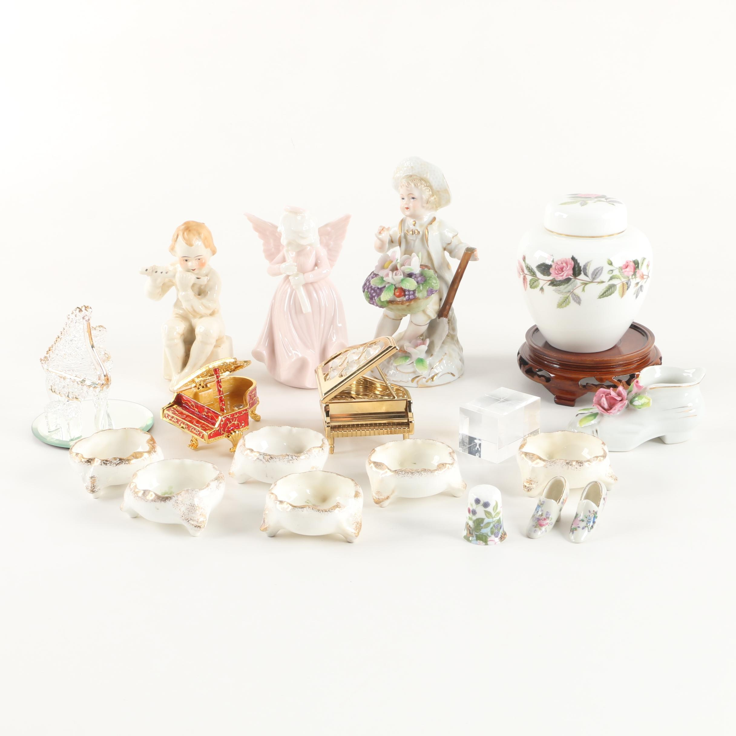 "Wedgwood ""Hathaway Rose"" Ginger Jar with Figurines and Salt Cellars"