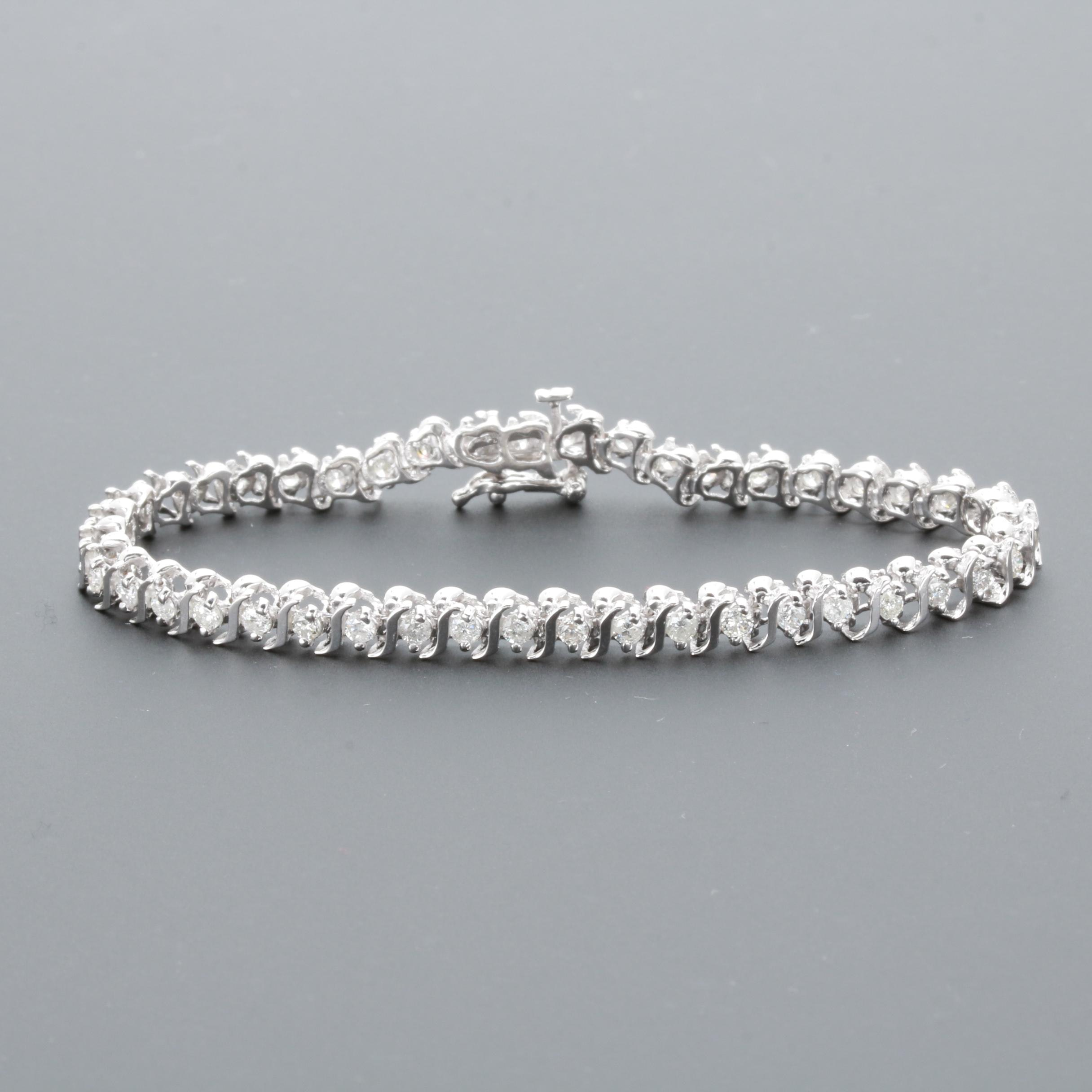 14K White Gold 1.95 CTW Diamond S-Link Tennis Bracelet