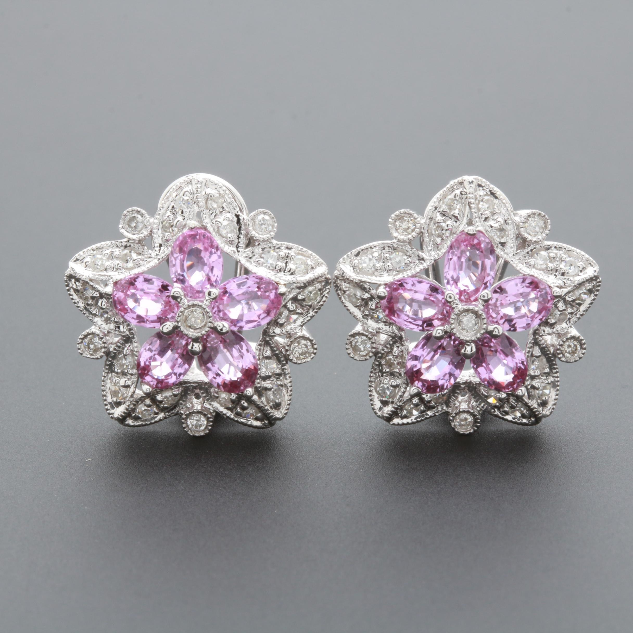 14K White Gold Untreated Pink Sapphire and Diamond Earrings