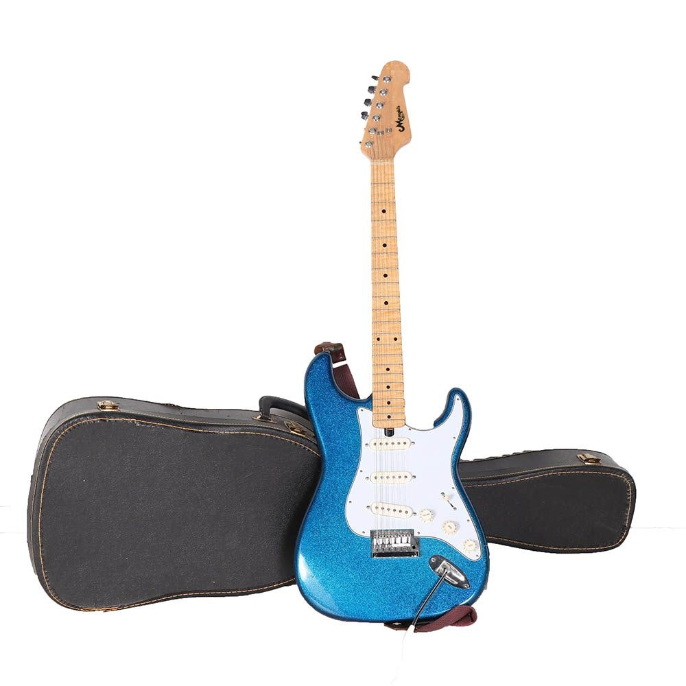 Memphis Strat Style Electric Guitar With Case Strap And Whammy Bar