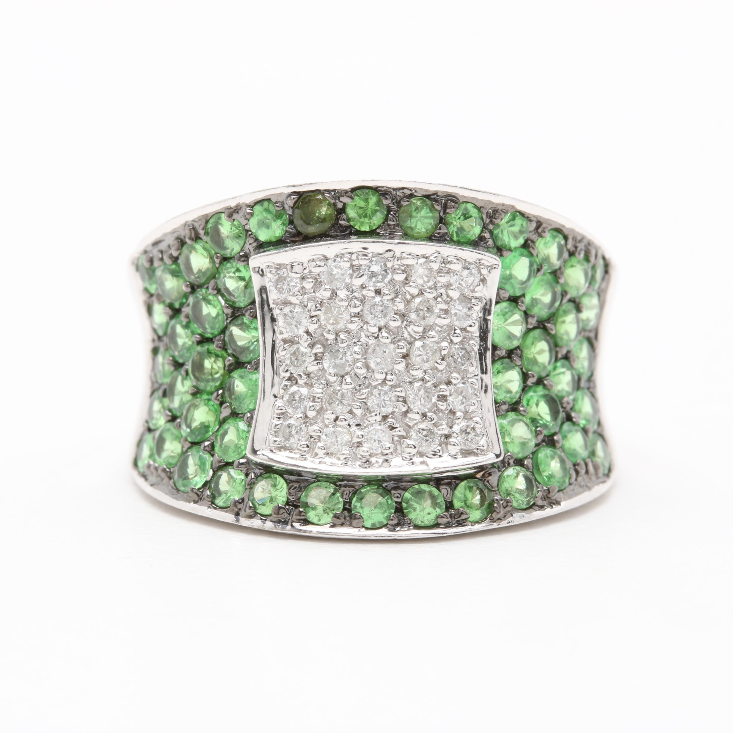14K White Gold Diamond and Tsavorite Ring