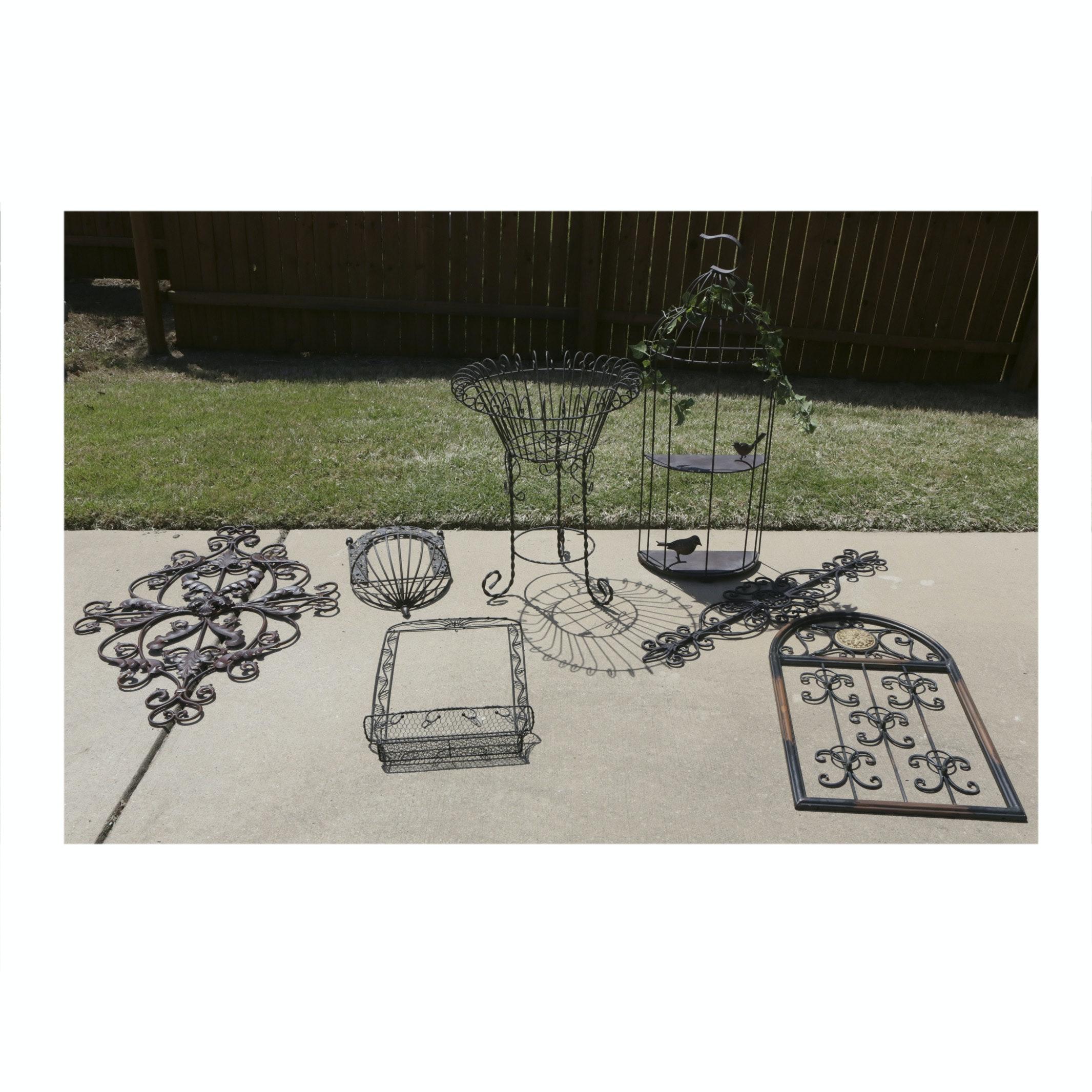 Openwork Metal Garden Decor and Planter Baskets