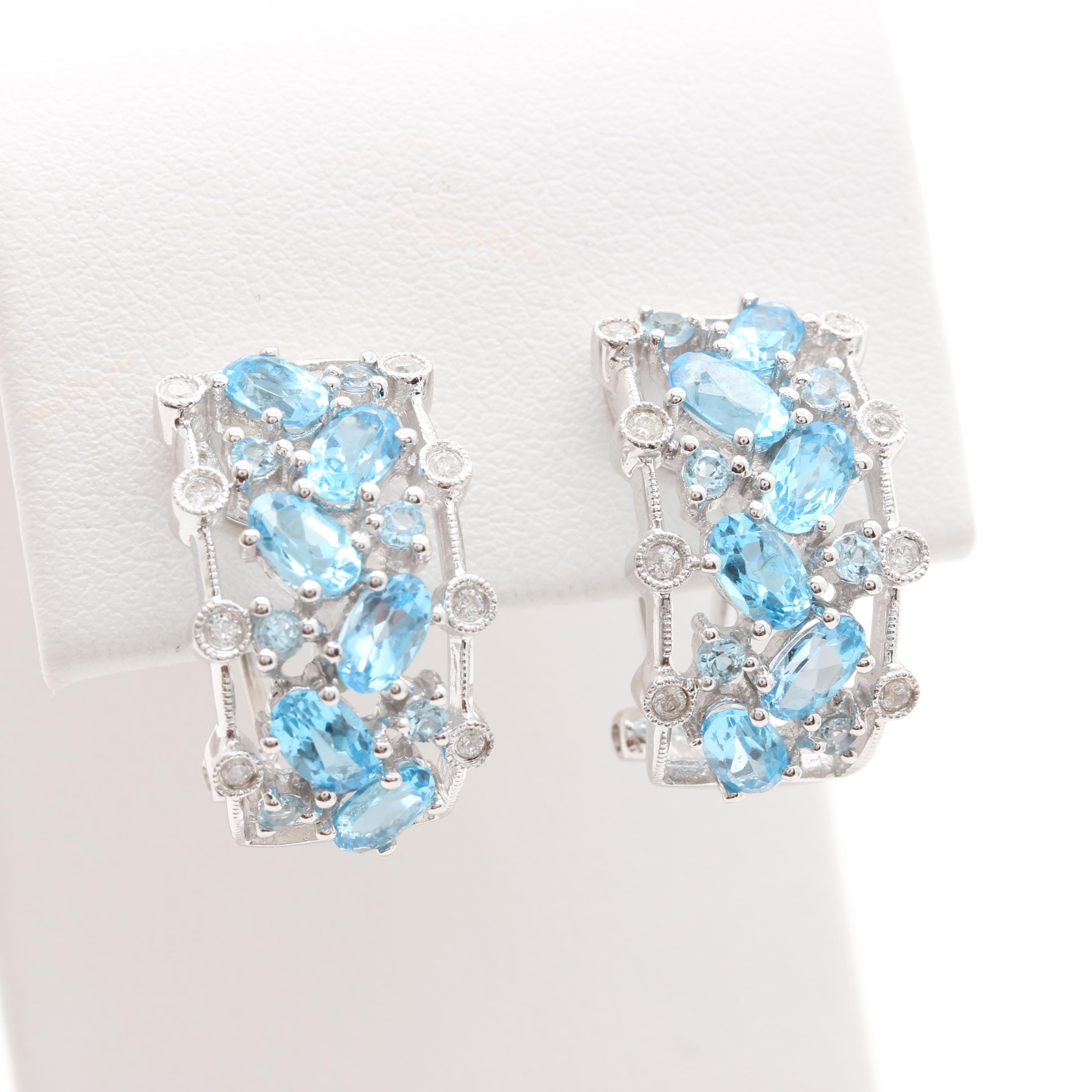 14K White Gold Diamond and Topaz Earrings