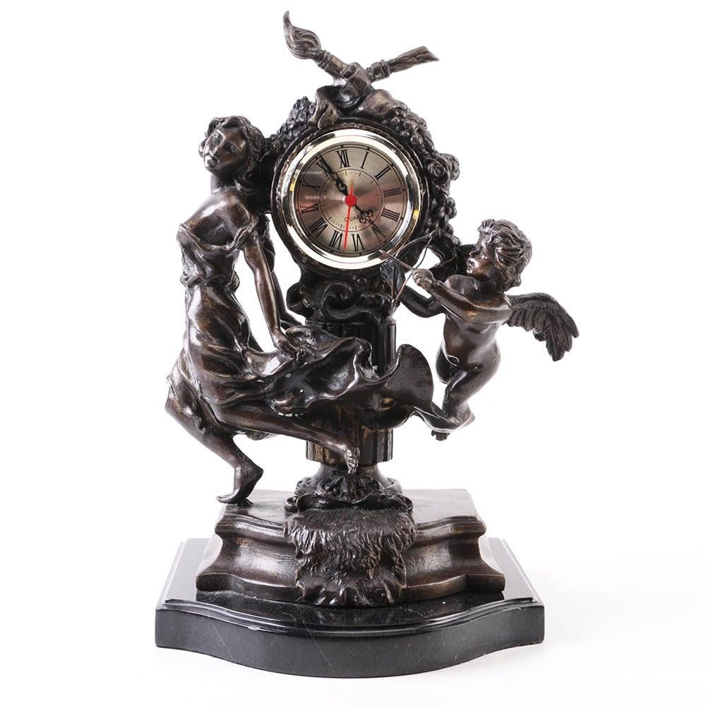Figurative Metal Clock With Marble Base