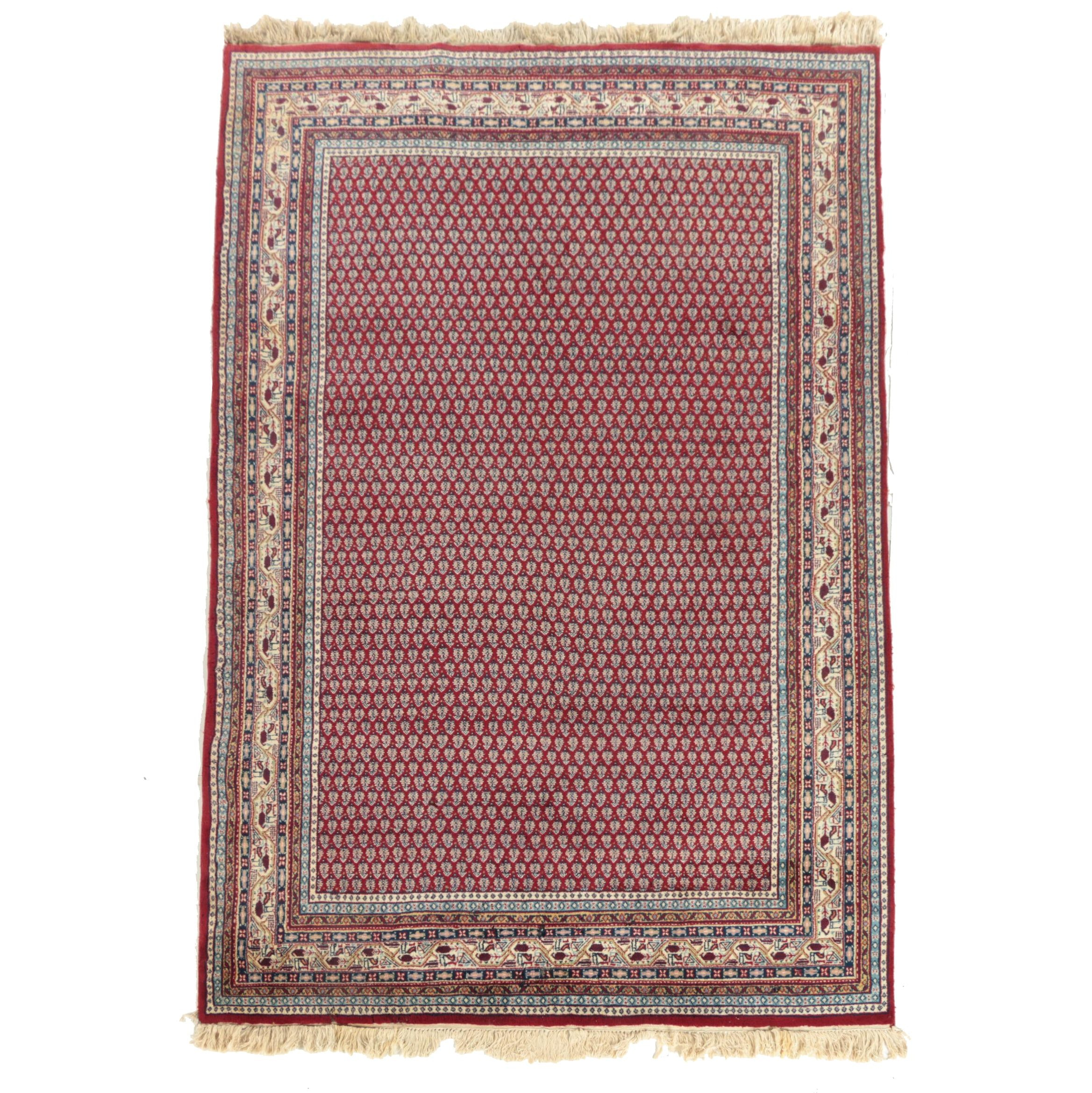 Vintage Hand-Knotted Persian Mir Serabend Area Rug