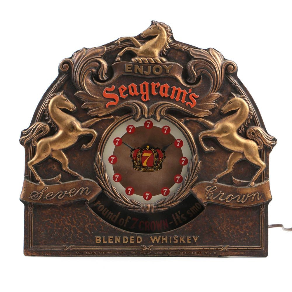 "Vintage Seagrams ""Seven Crown"" Light Up Rotating Clock Sign"
