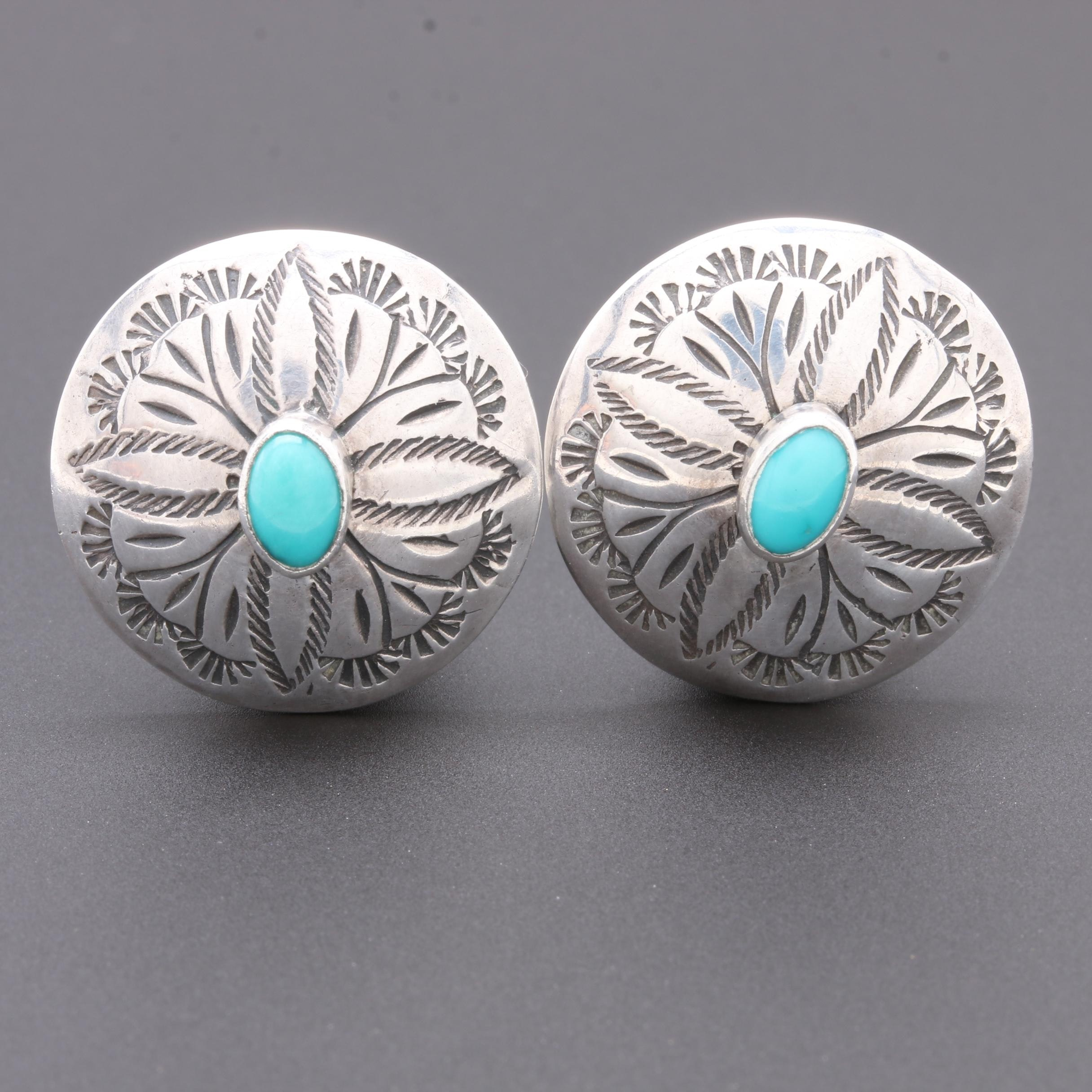 Selena Jake Navajo Diné Sterling Silver Turquoise Concho Earrings