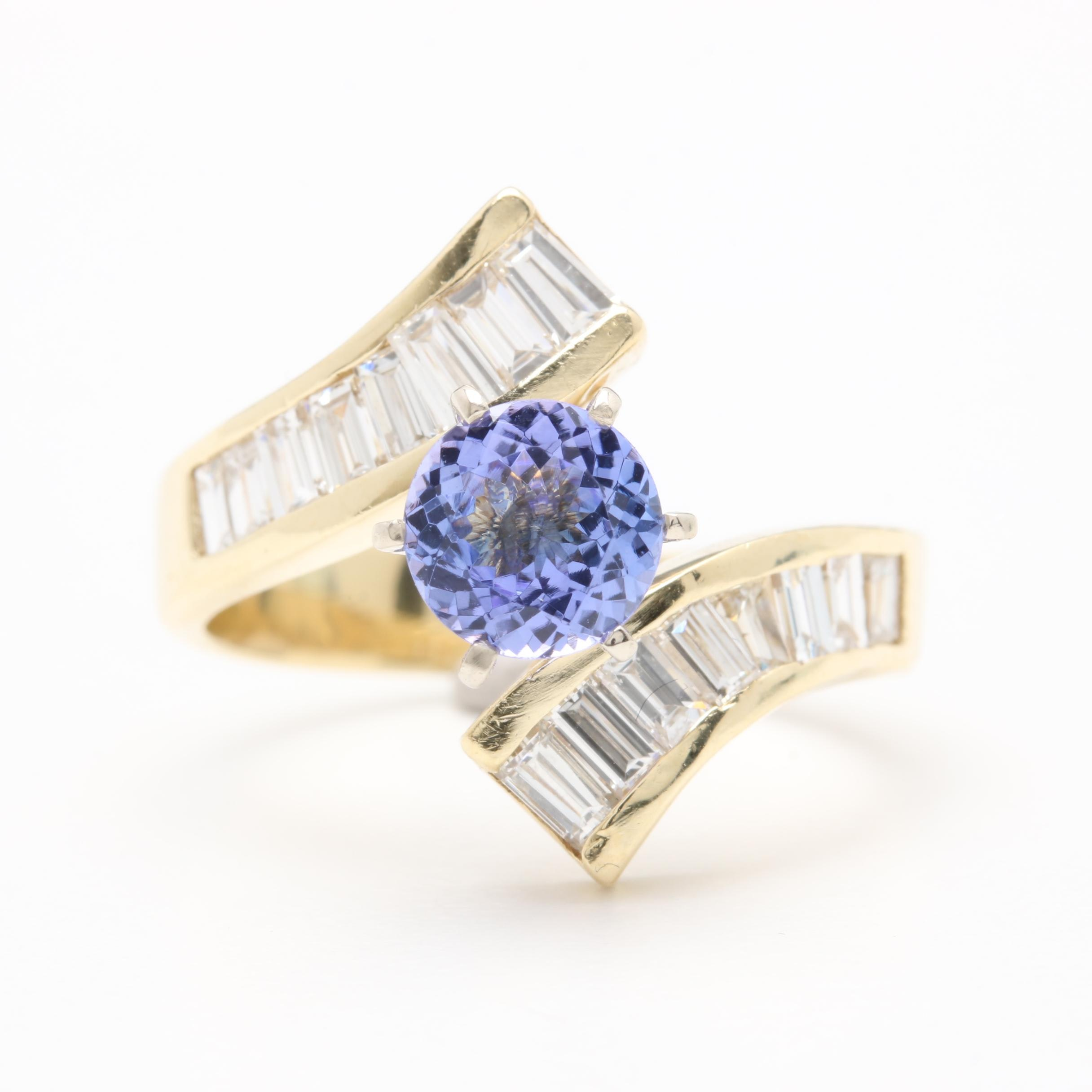 14K Yellow Gold Tanzanite and 1.50 CTW Diamond Bypass Ring