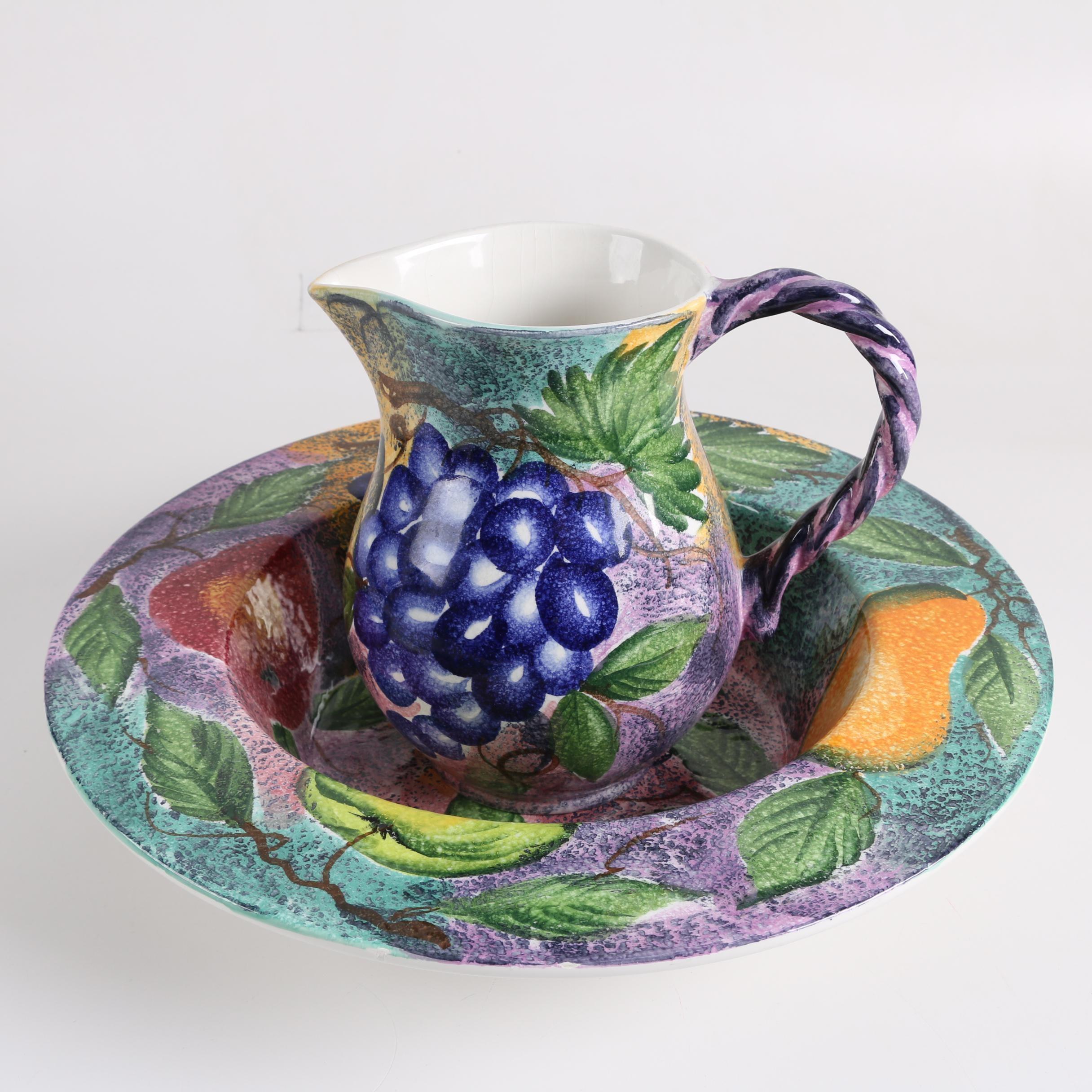 Italian Ancora Ceramic Pitcher and Basin
