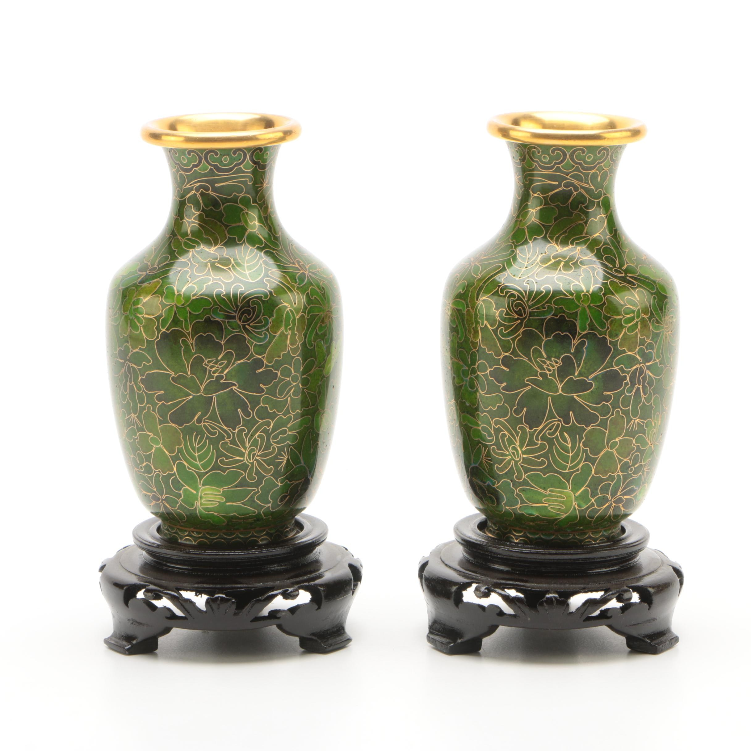 Chinese Cloisonne Vases and Carved Wood Stands