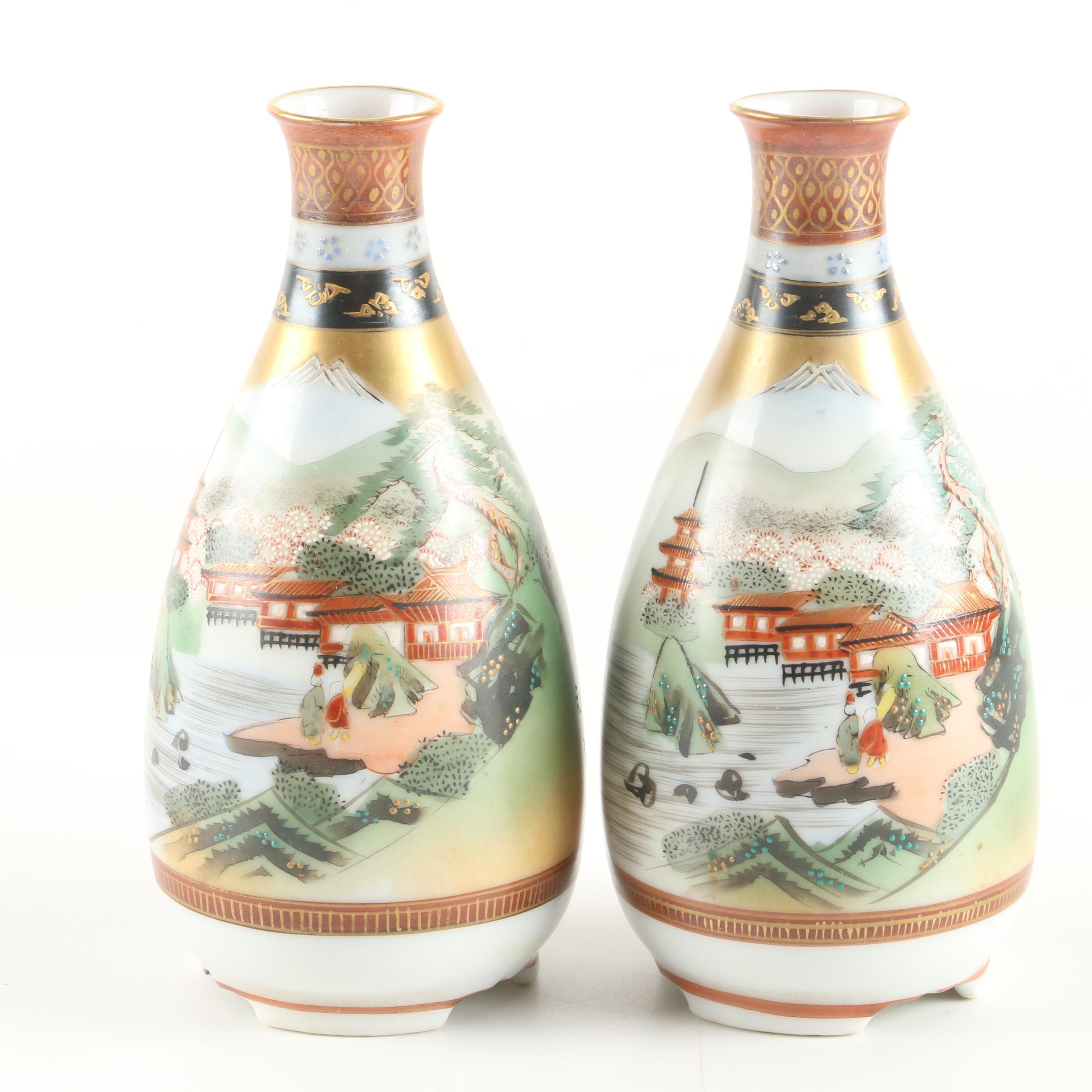 Japanese Hand-Painted Kutani Porcelain Bud Vases with Moriage Accents