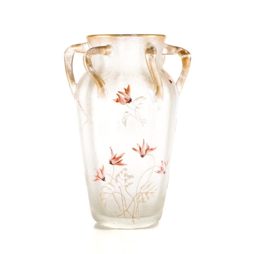1920s 30s Hand Painted Art Glass Vase Ebth