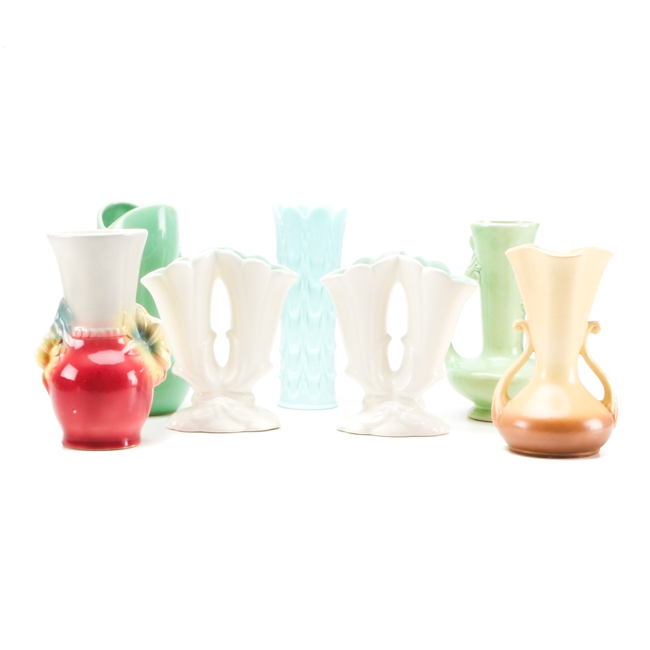 Mid-Century Art Pottery and Glass Vases featuring Rumrill and Royal Copely