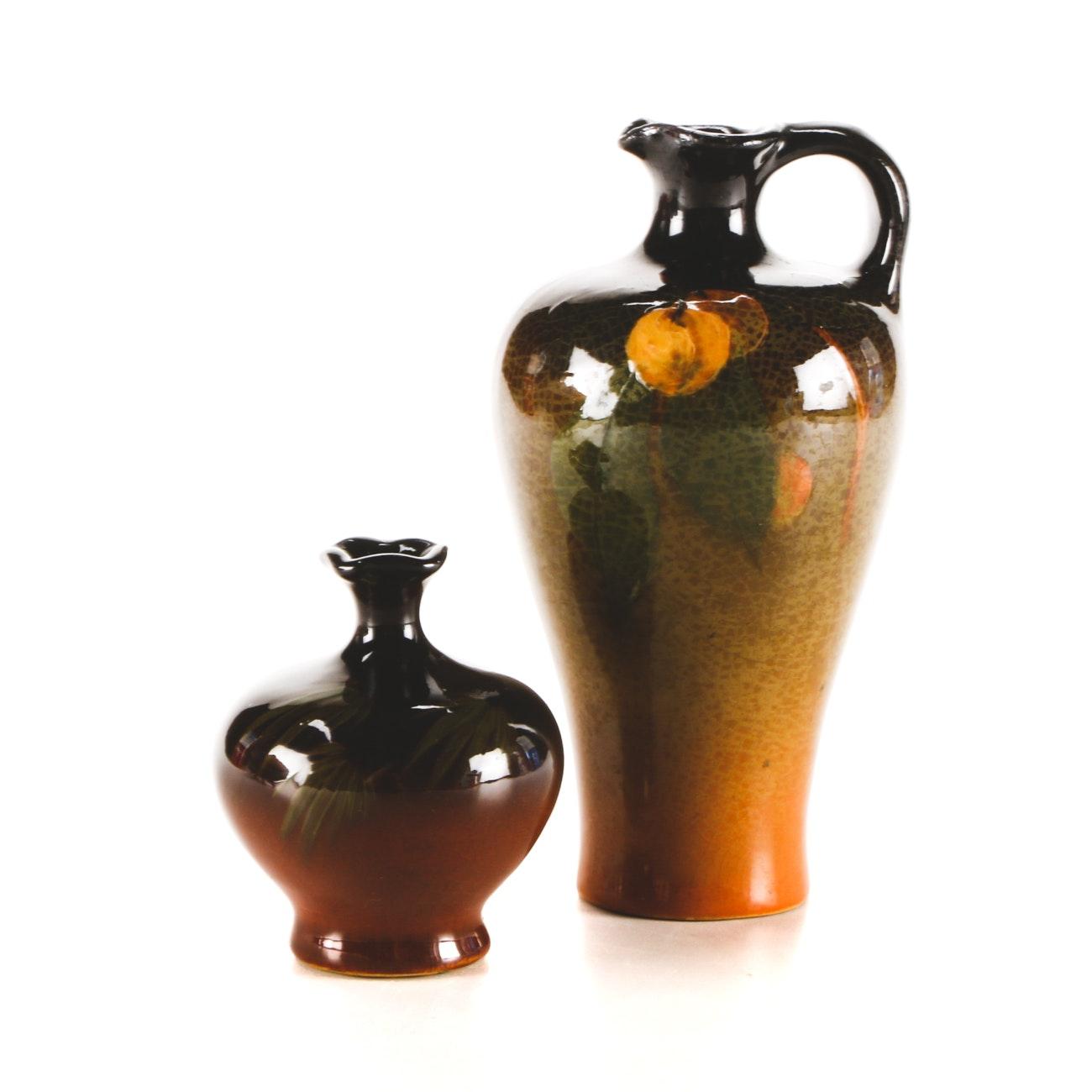 """1920s Weller """"Louwelsa"""" Ewer and Cabinet Vase"""