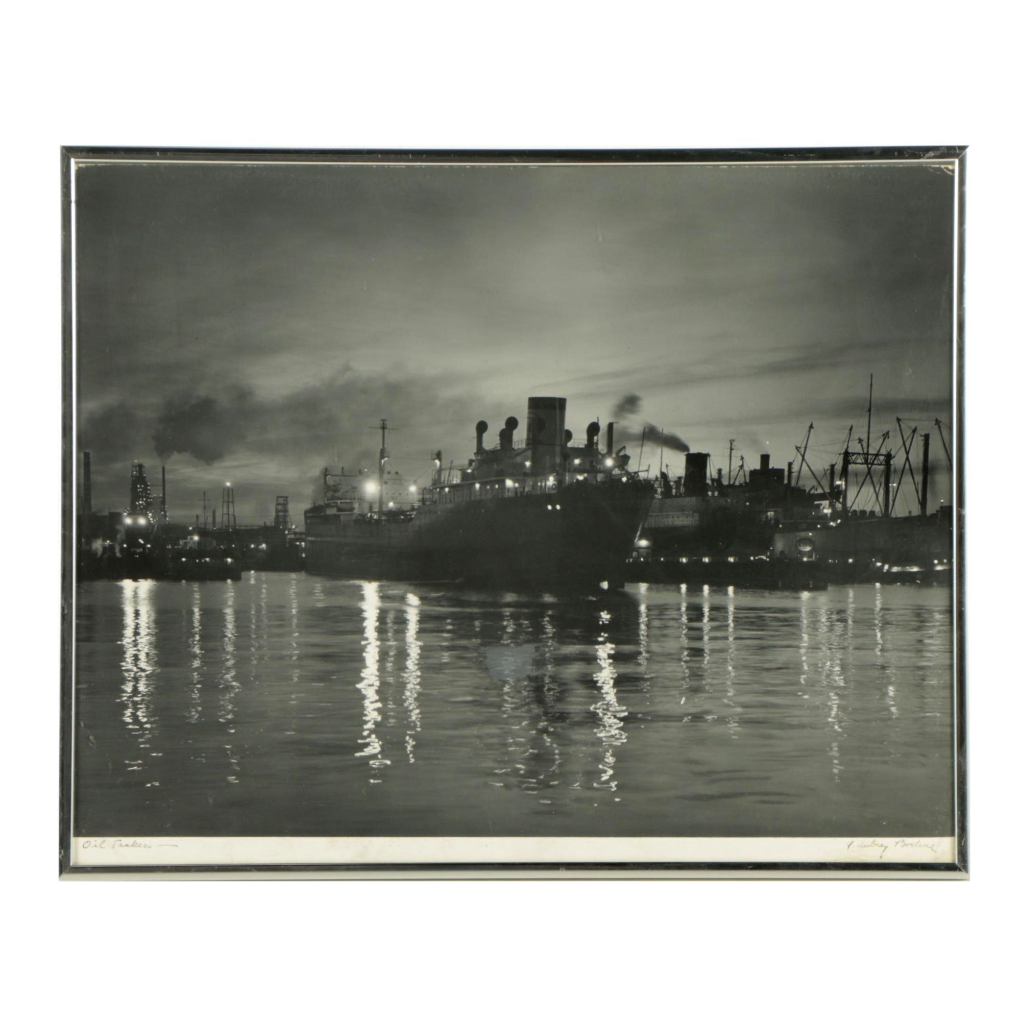 "A. Aubrey Bodine Black and White Photograph ""Oil Tankers"""