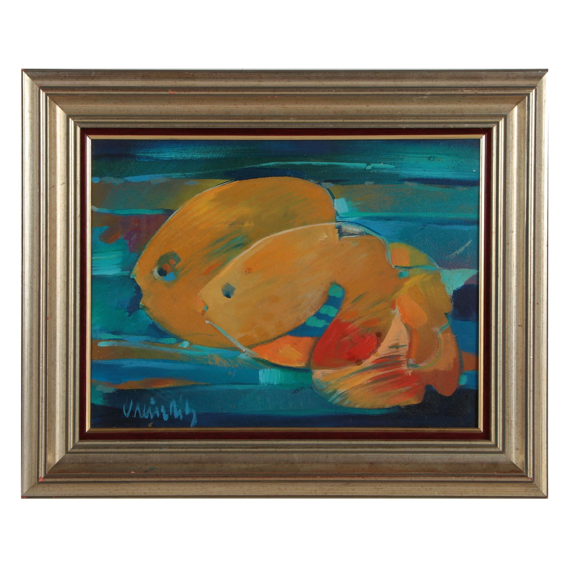 Twentieth Century Oil Painting of Fish