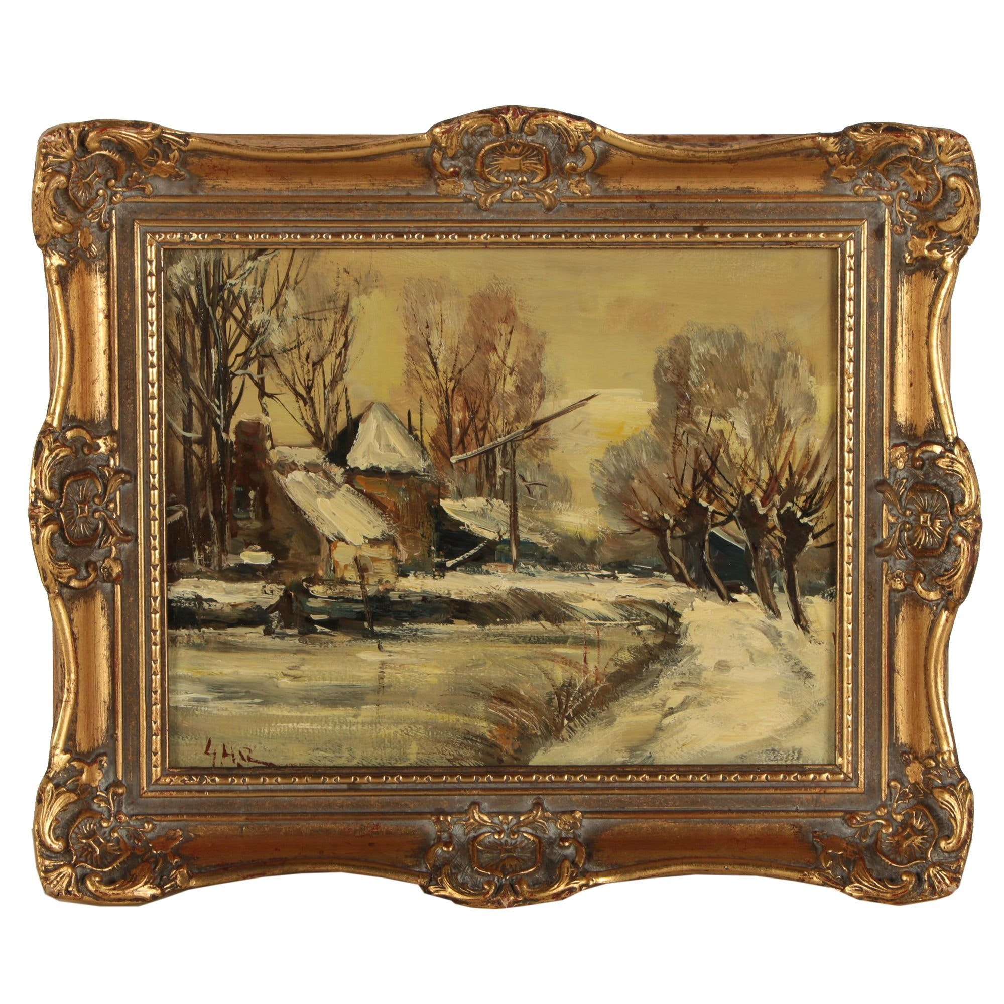 20th Century Oil Painting of a Winter Landscape