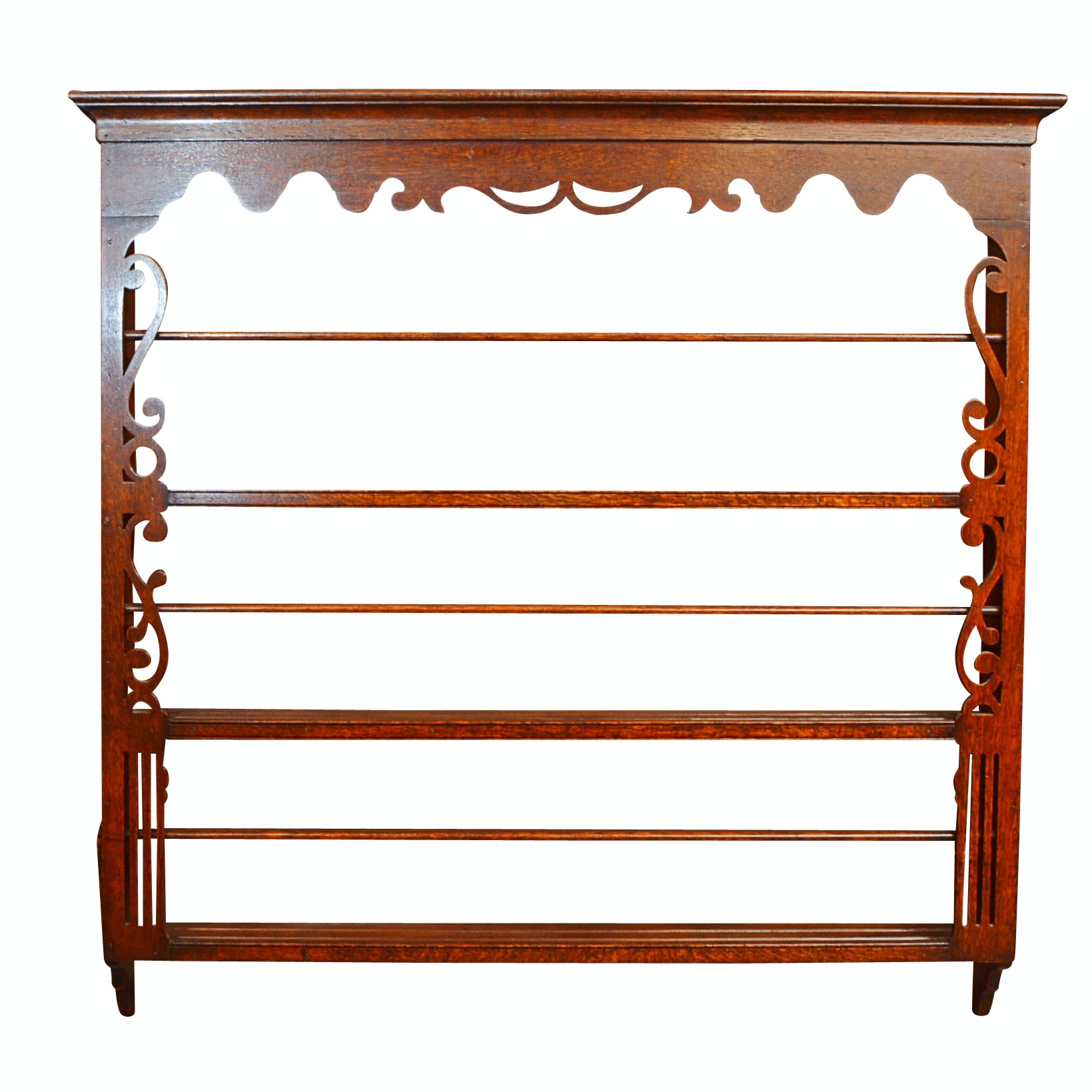 Antique Red Oak Plate Rack