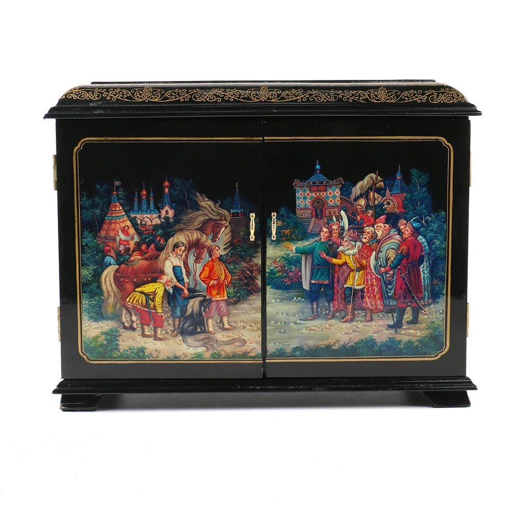 Black Lacquered Jewelry Chest with Russian Motif
