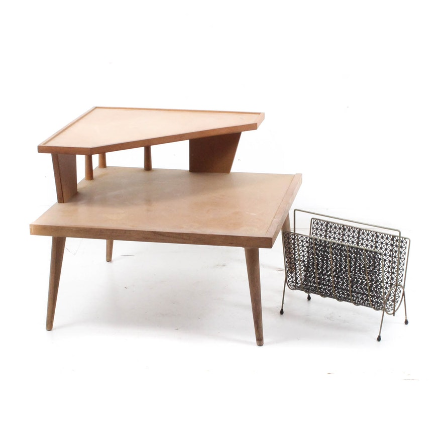 Mid Century Modern Corner Table And Magazine Rack EBTH - Mid century modern corner table