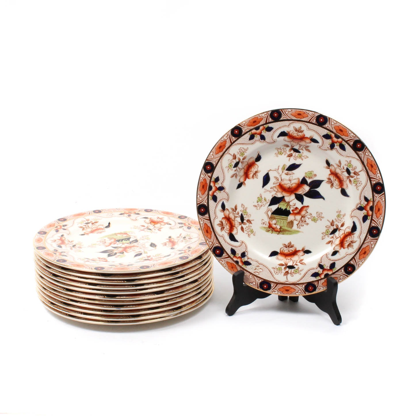 "Burgess & Leigh ""Old Derby"" Earthenware Imari Palette Dinner Plates"