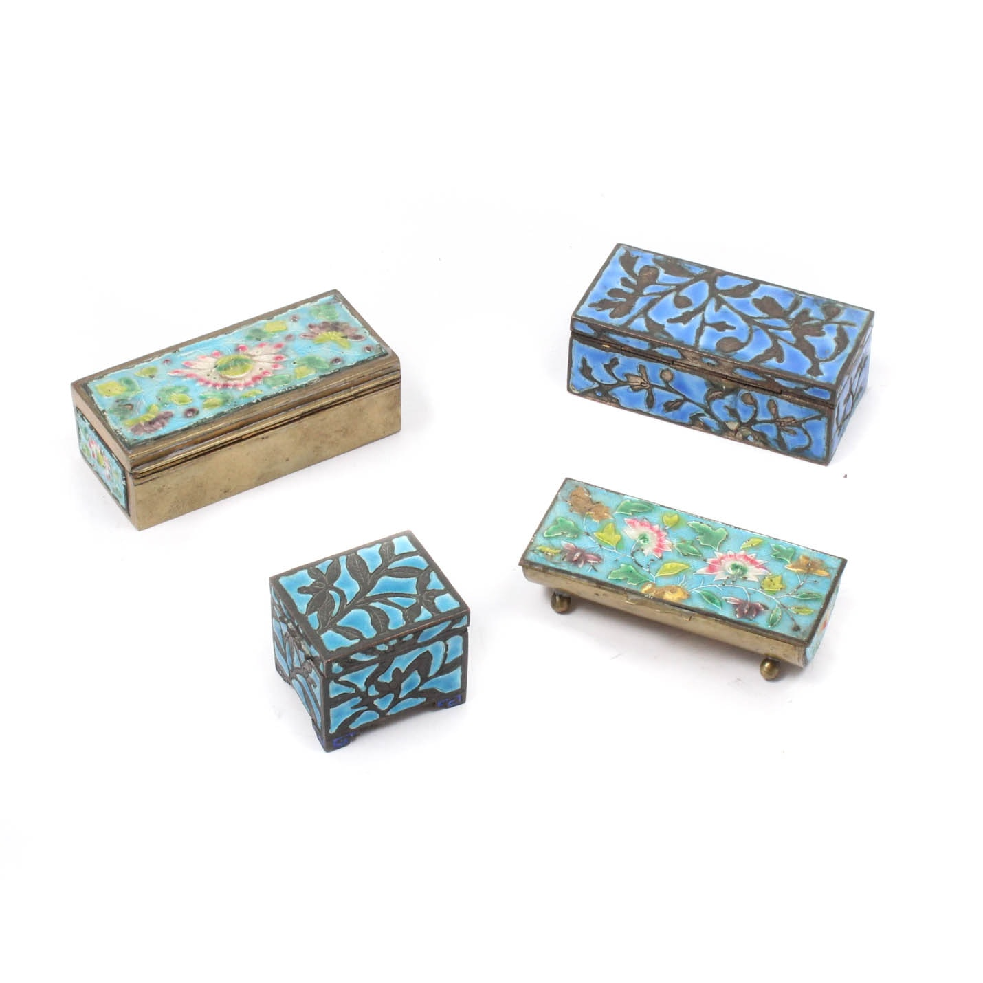 Chinese Enameled Stamp Boxes