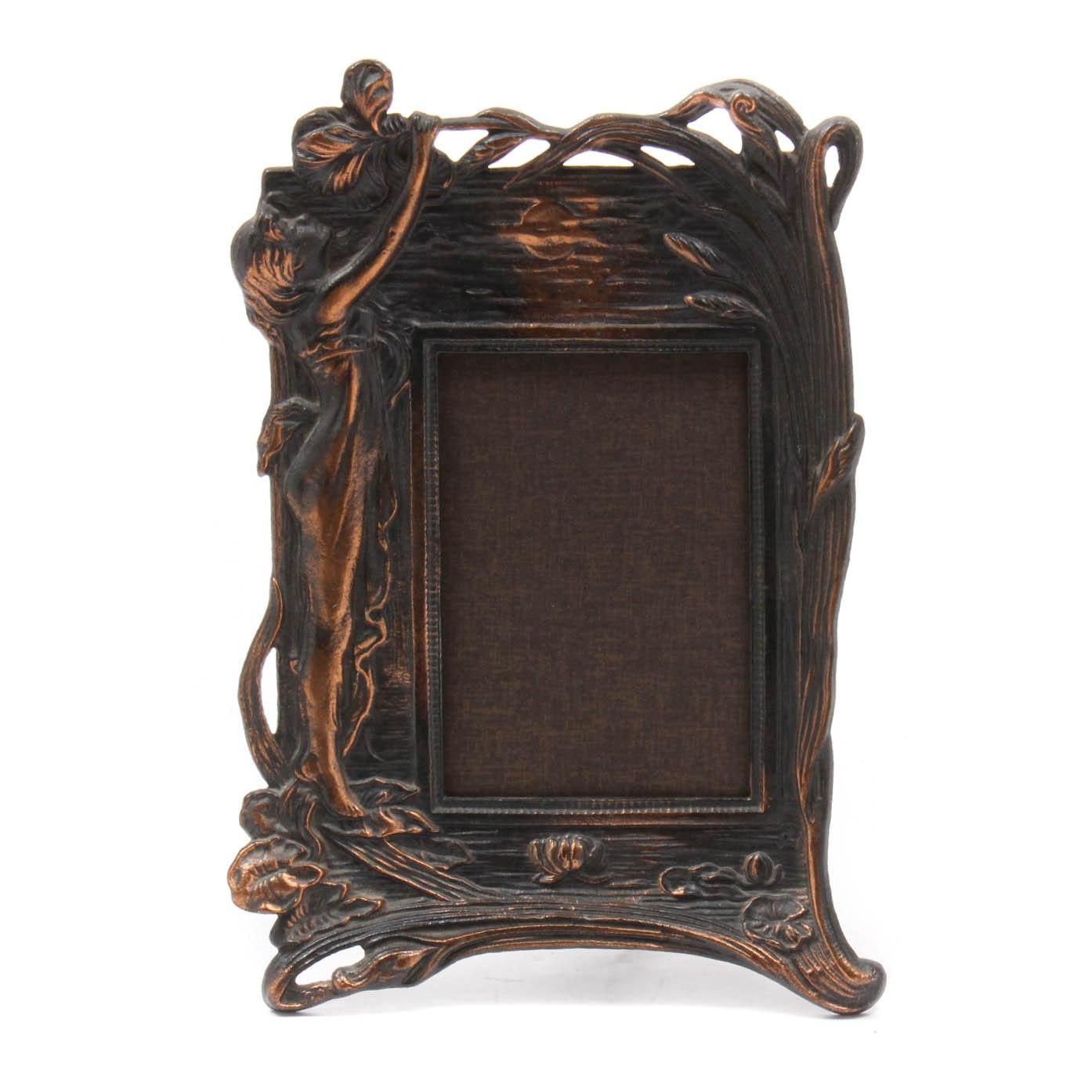 Art Nouveau Style Cast Metal Picture Frame