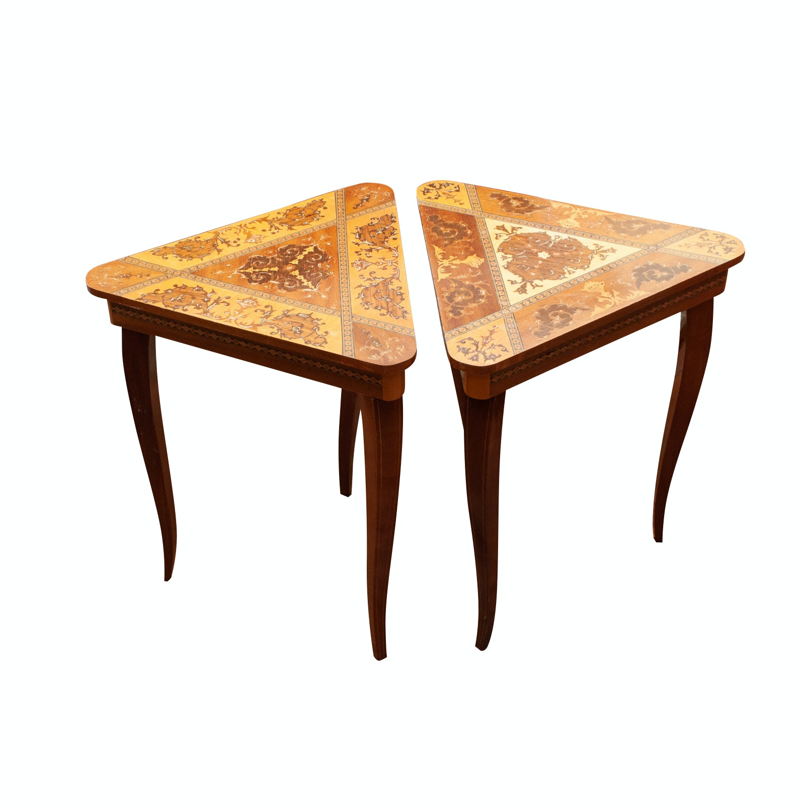 Pair of Vintage Italian Marquetry Music Box Tables