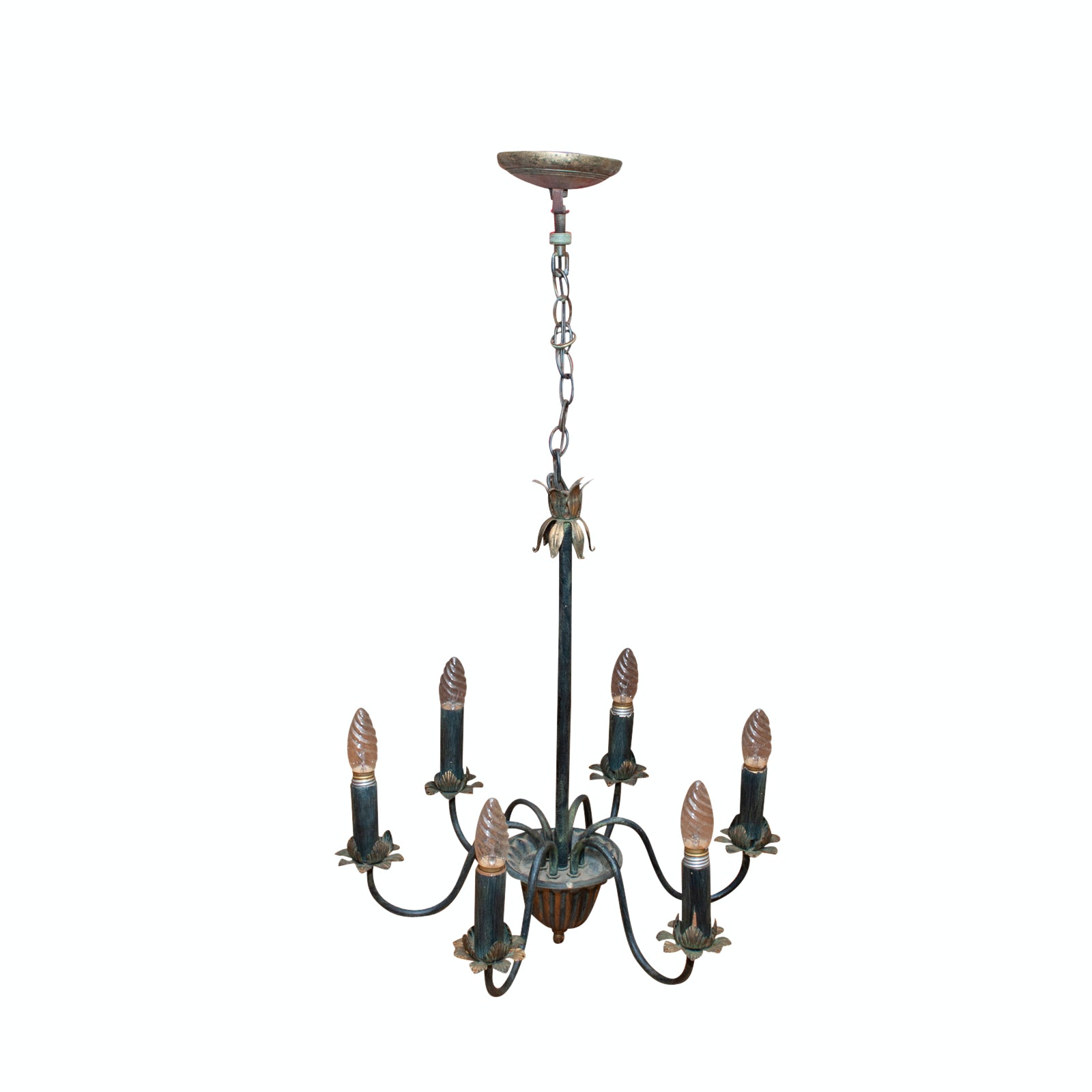 Antique Floral and Foliate Brass Chandelier