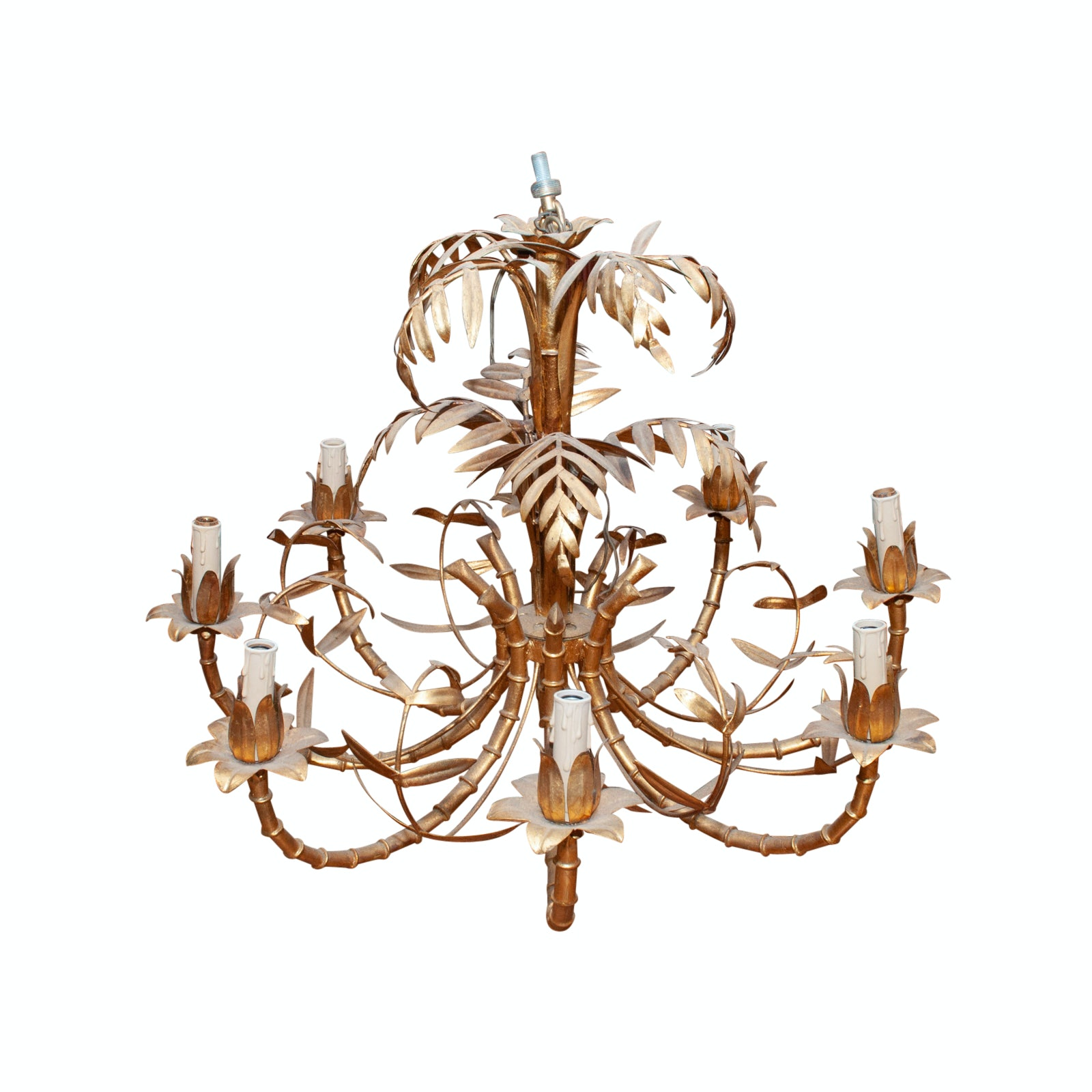 Vintage Italian Palm Tree and Bamboo Chandelier