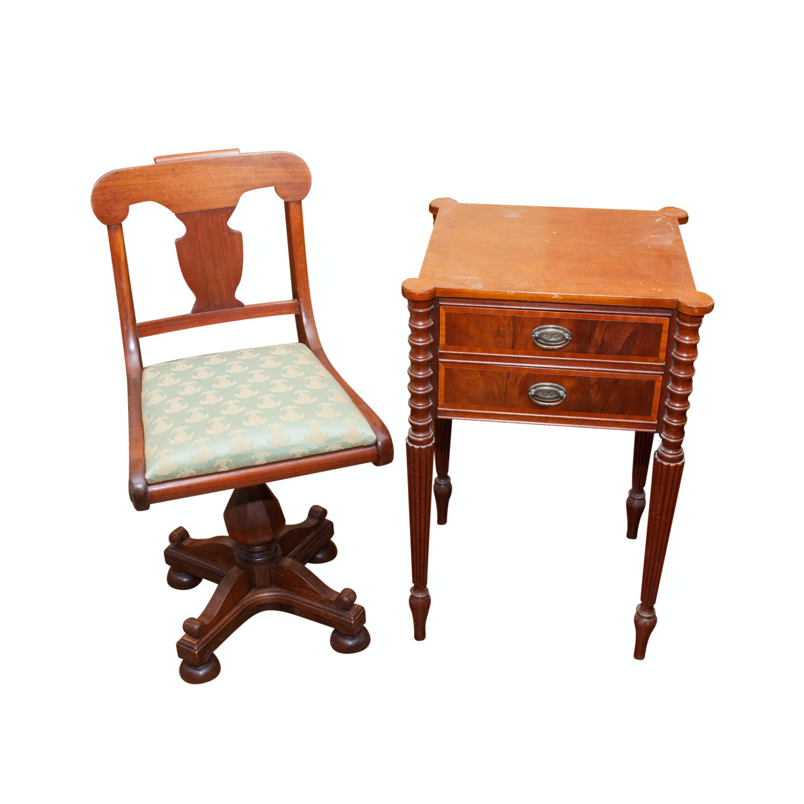 Cowperthwait Furniture Co. Wood End table with Antique Piano Chair