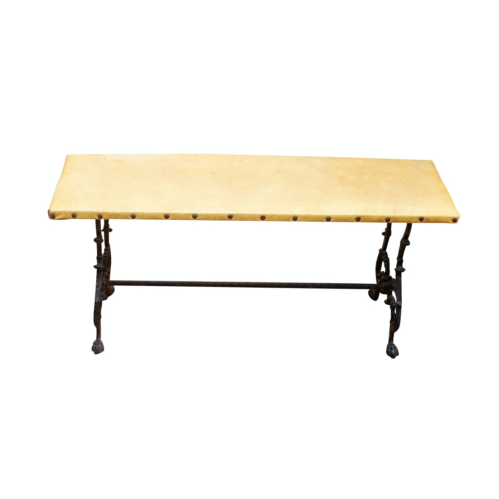 Antique Wrought Iron and Wood Re-Upholstered Bench