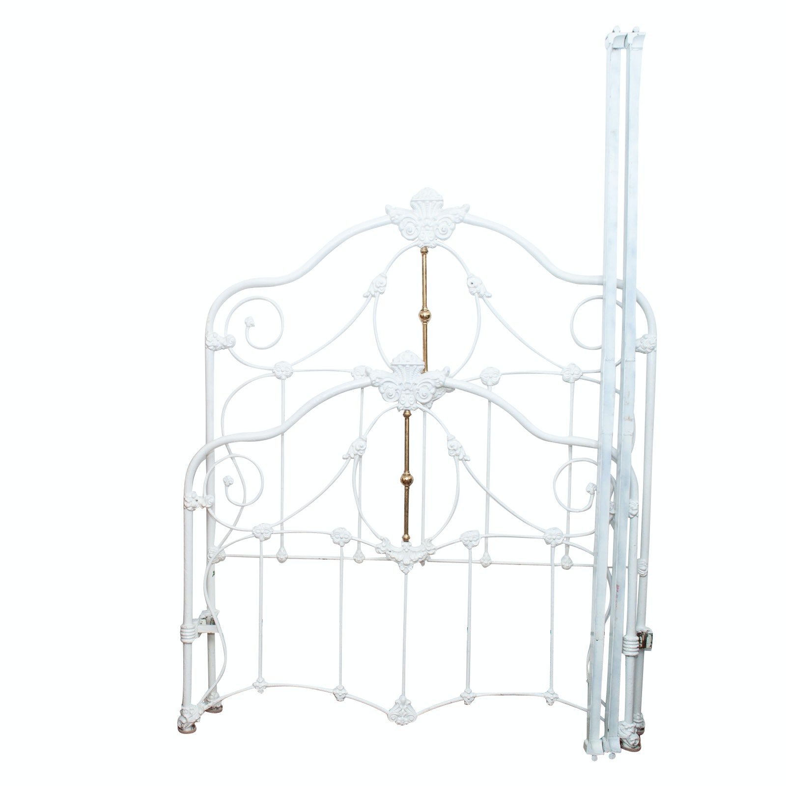 Antique Victorian White Wrought Iron and Brass Queen Size Bed Frame