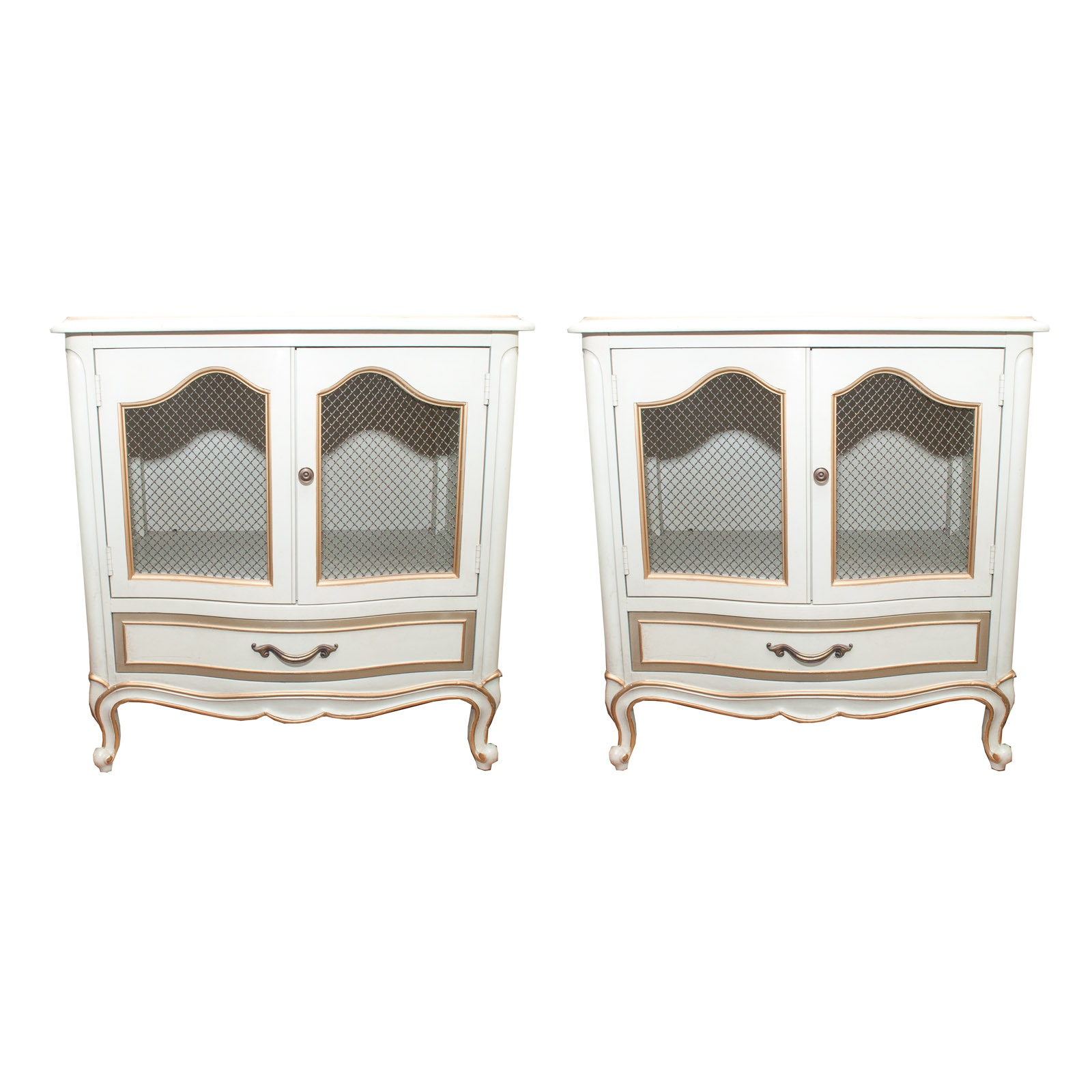 Pair of Vintage Drexel Furniture Gold and Cream Night Stands