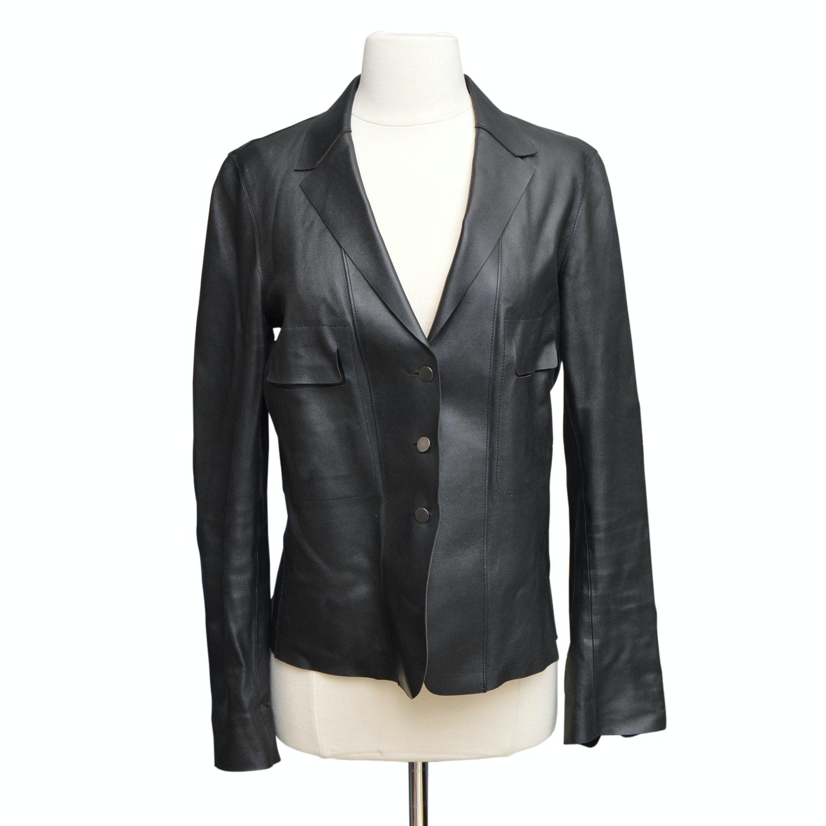 Women's Elie Tahari Black Lamb Leather Jacket