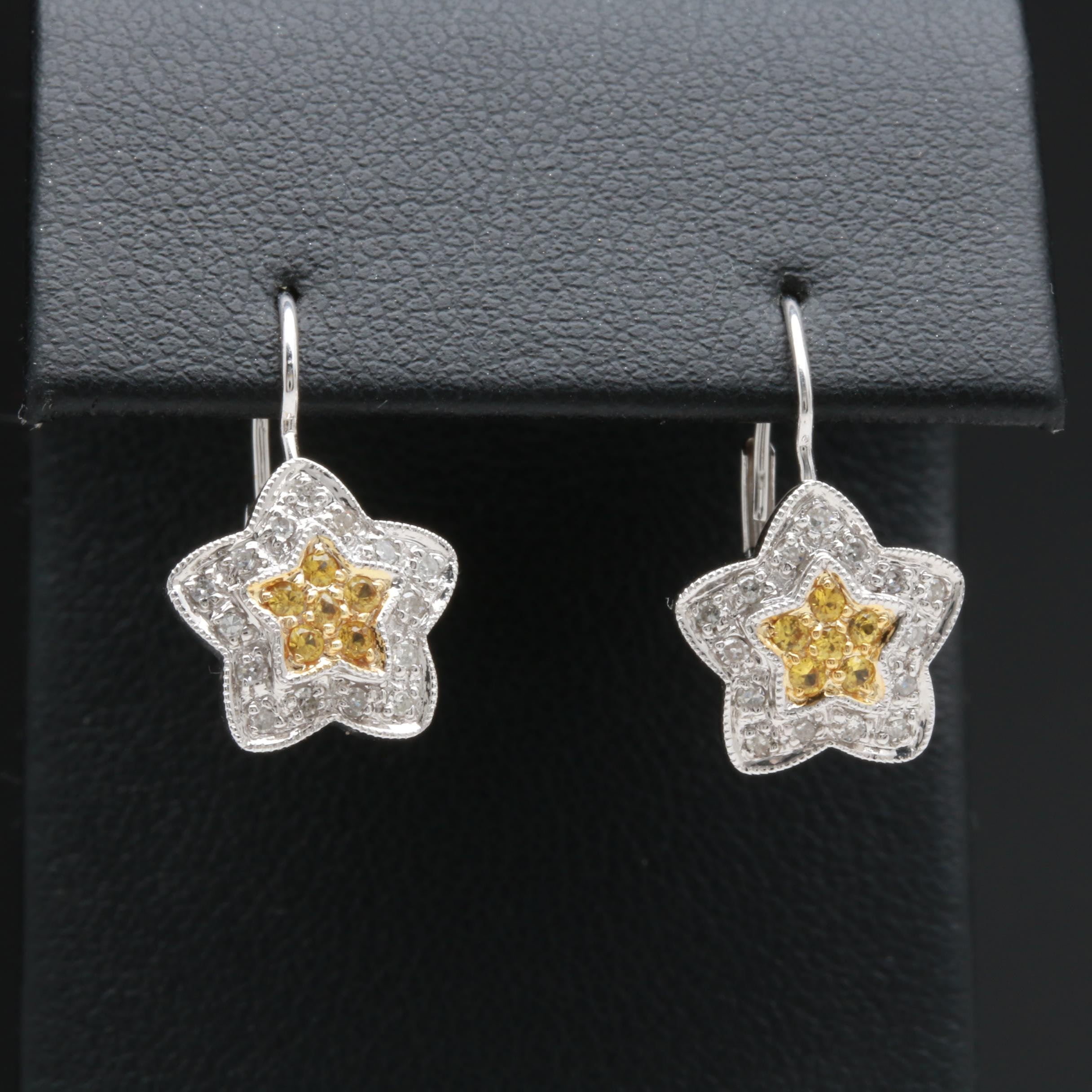 14K White Gold Yellow Sapphire and Diamond Floral Earrings