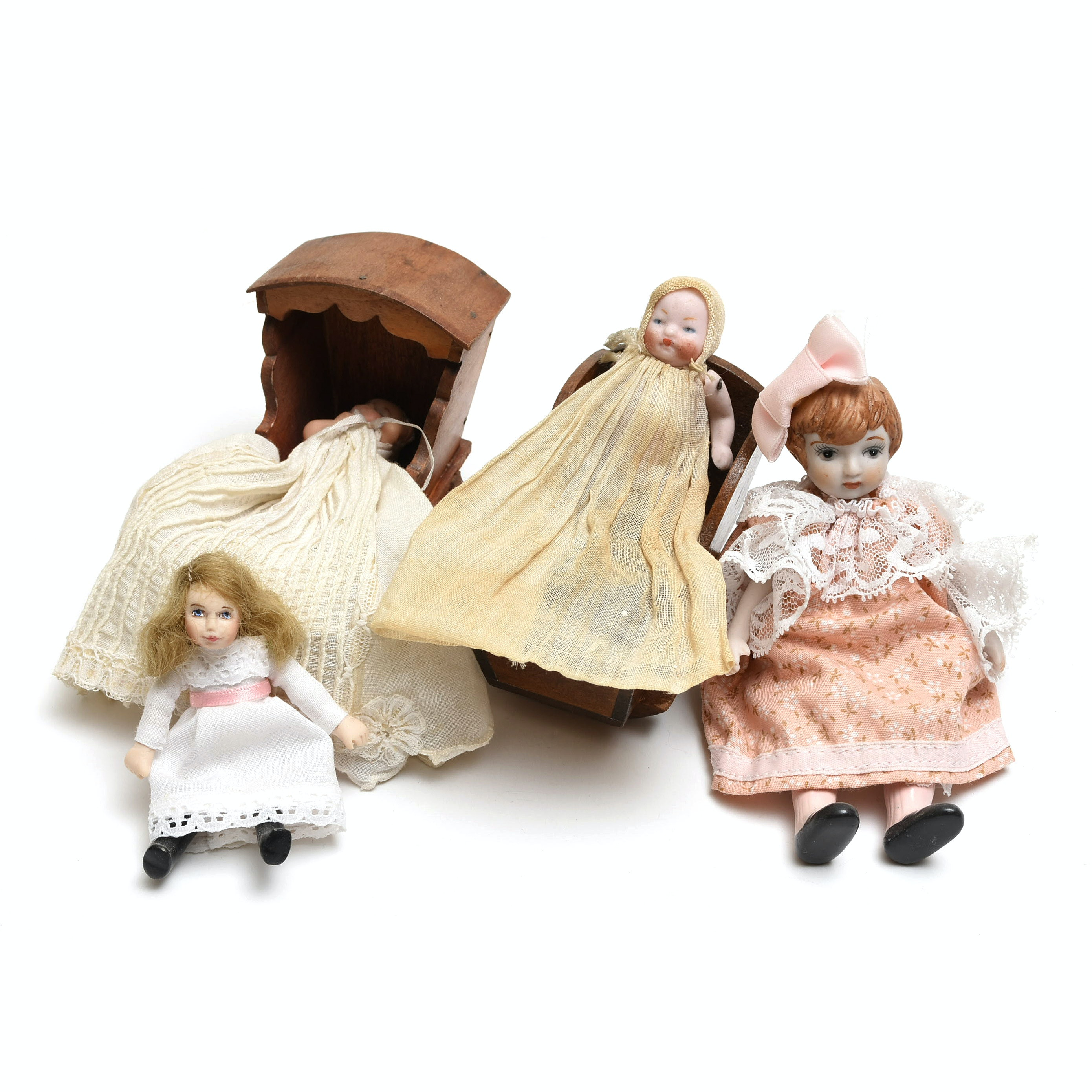 Vintage Small Dolls And Cradles