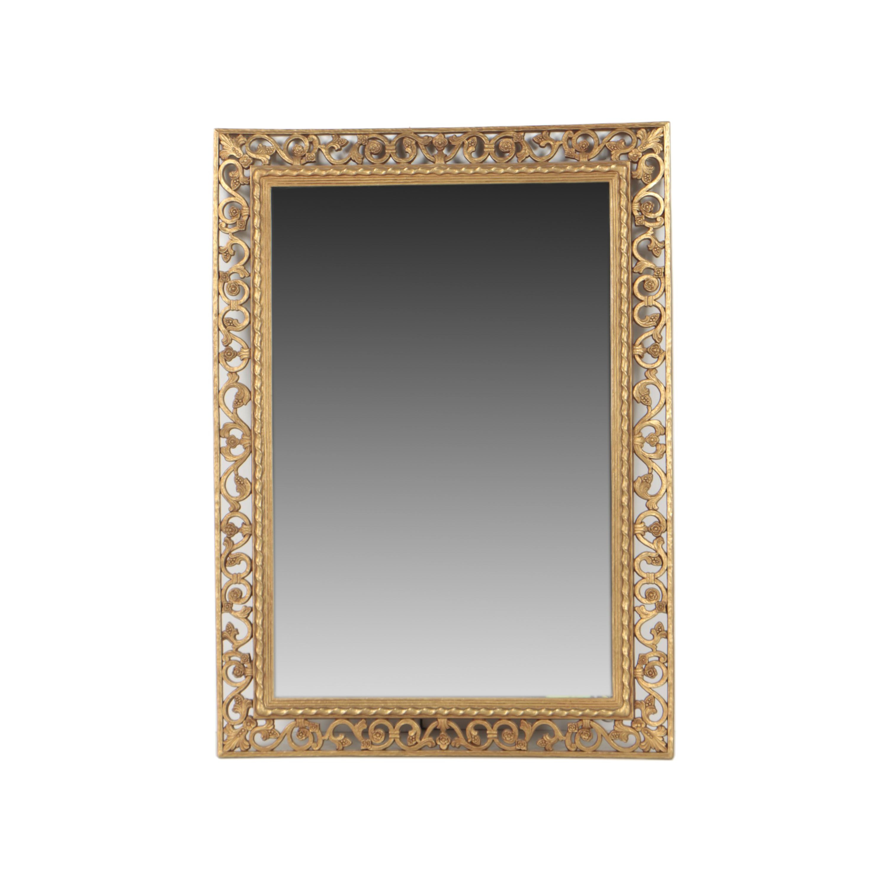Decorative Gold Tone Filigree Wall Mirror