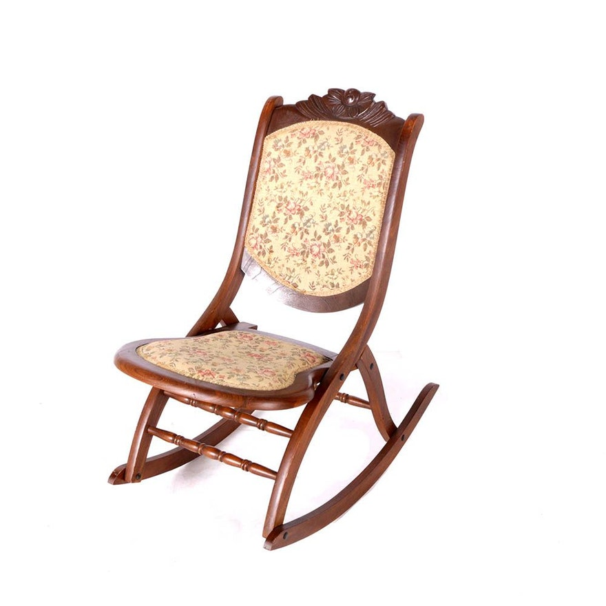 Peachy Vintage Victorian Style Walnut Folding Rocker Pdpeps Interior Chair Design Pdpepsorg