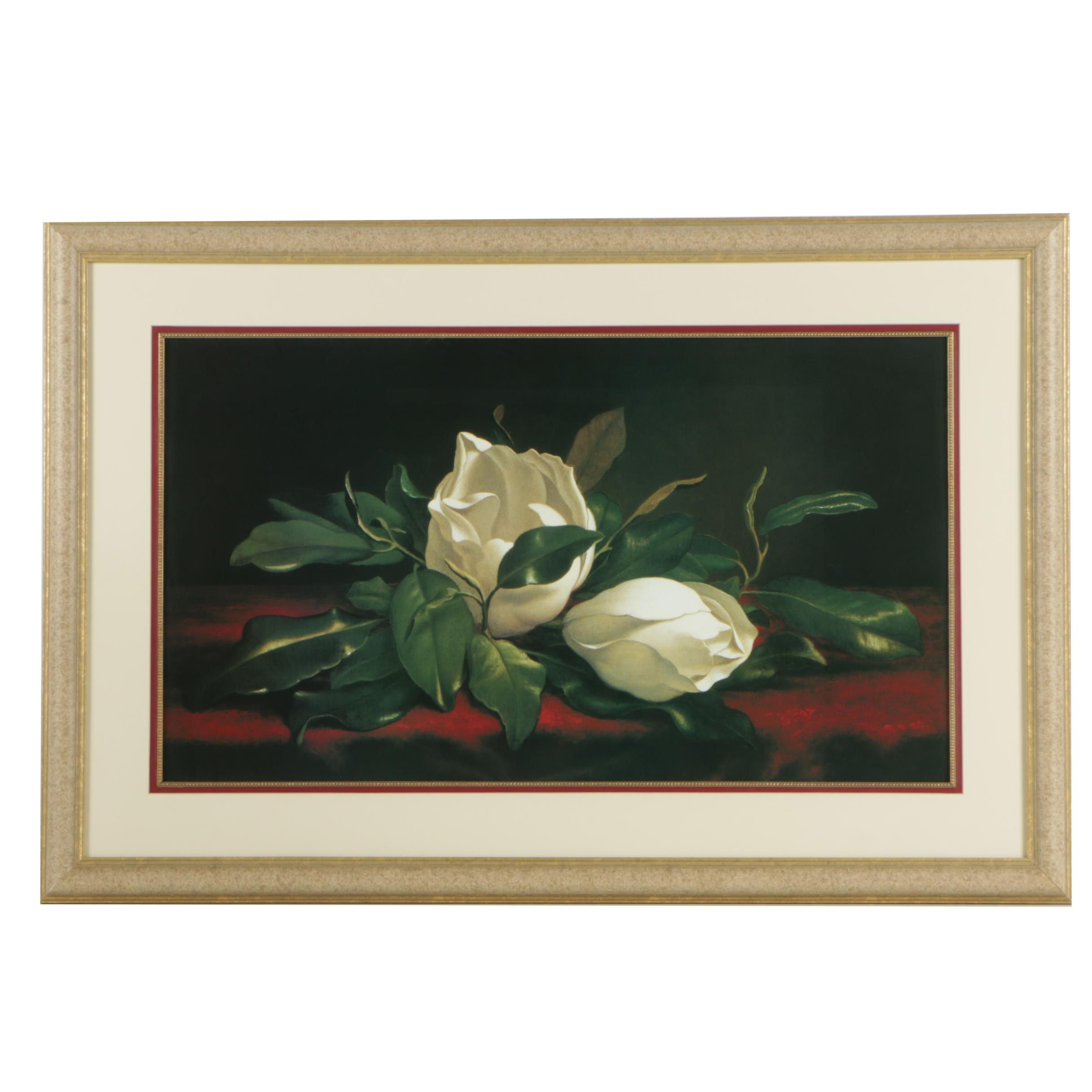 "Offset Lithographic Print After Martin Johnson Heade ""Magnolia"""