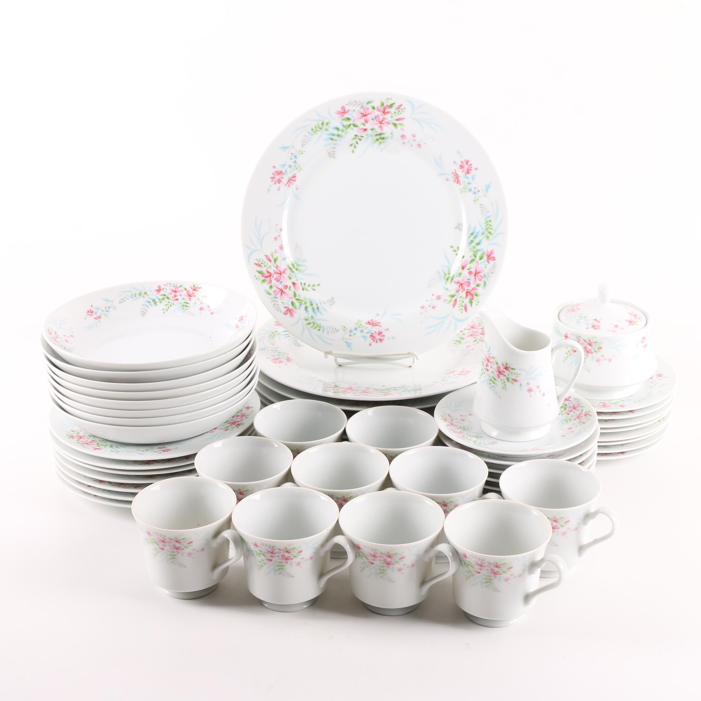 "Vintage Mikasa ""Fern Rose"" Porcelain Dinnerware"