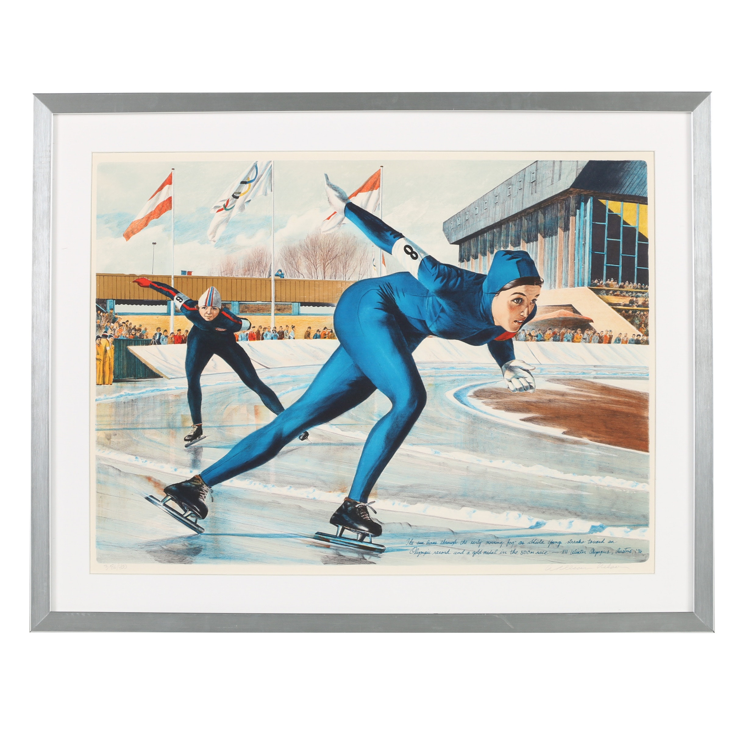"William Nelson Lithograph ""Olympic Skating (Sheila Young)"""