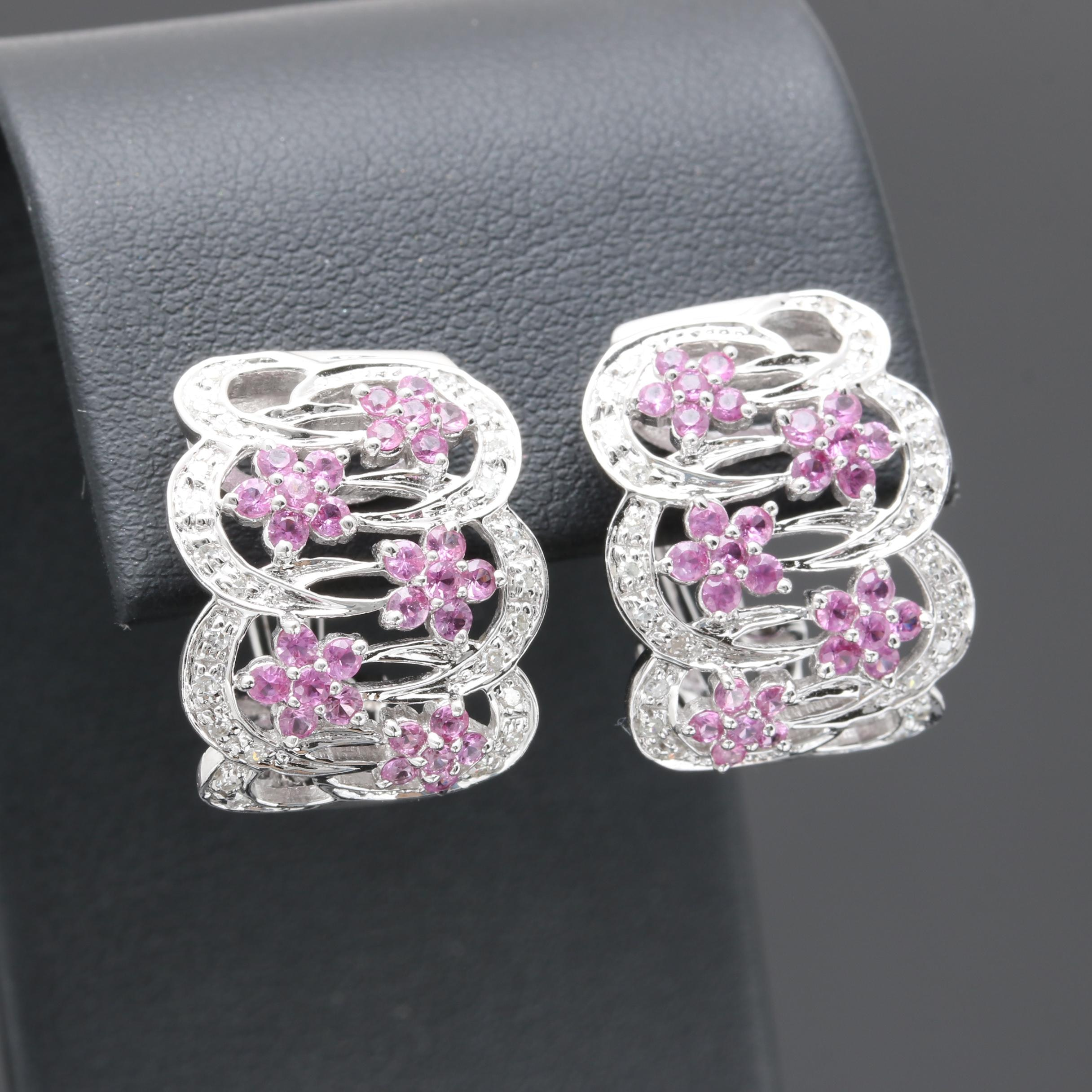 14K White Gold Pink Sapphire and Diamond Half Hoop Earrings