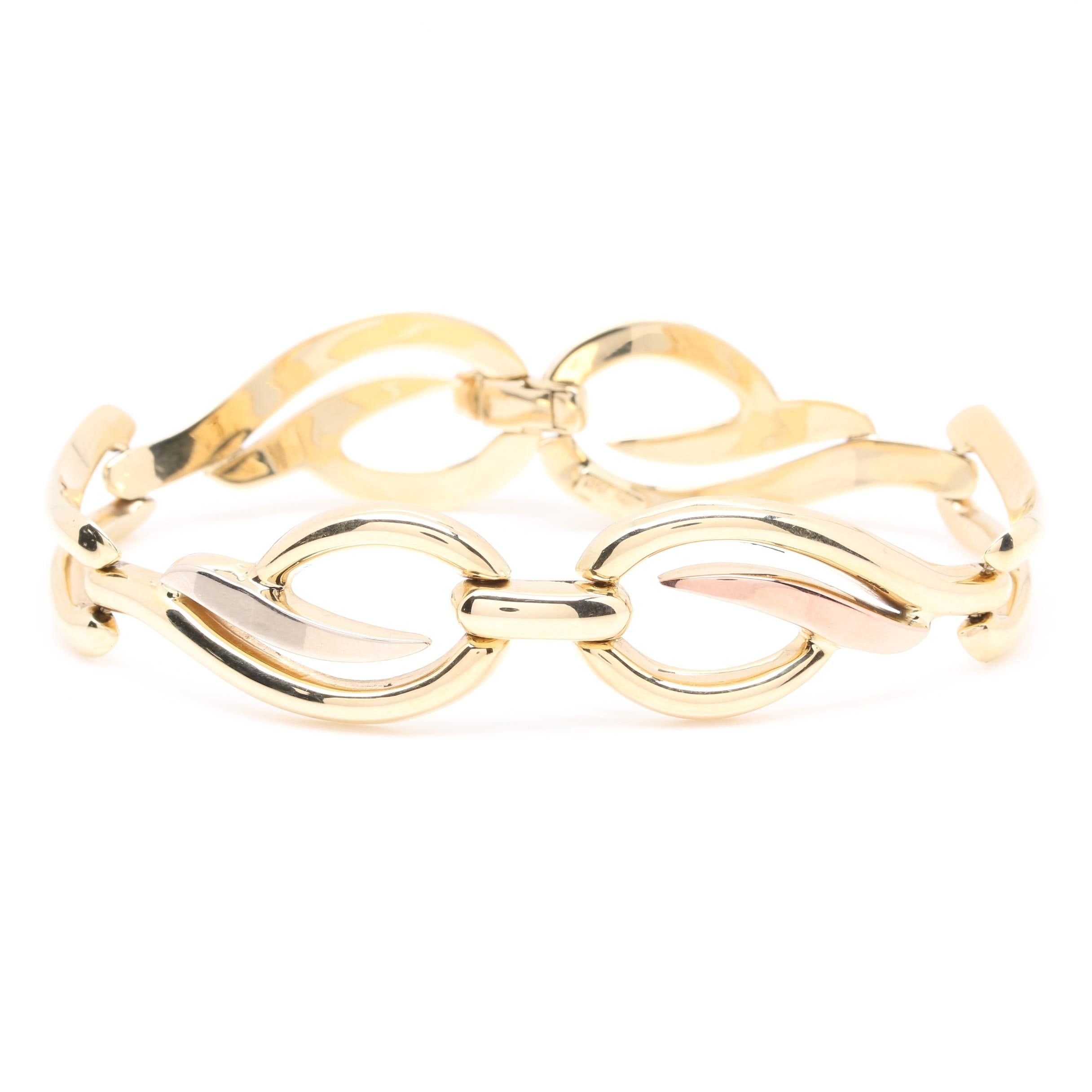 14K Yellow Gold Fancy Link Bracelet with White and Rose Accents
