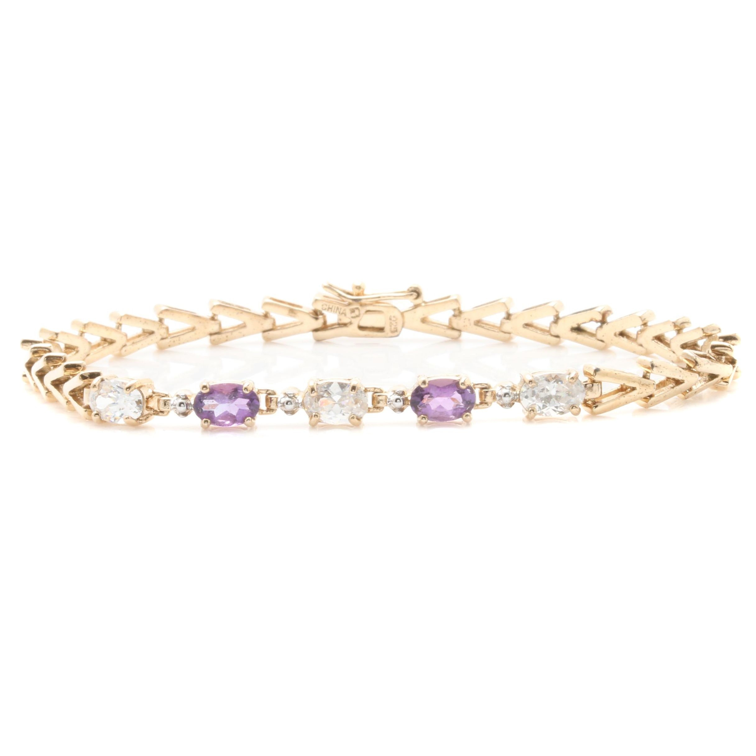 Gold Wash on Sterling Silver Amethyst and Cubic Zirconia Bracelet