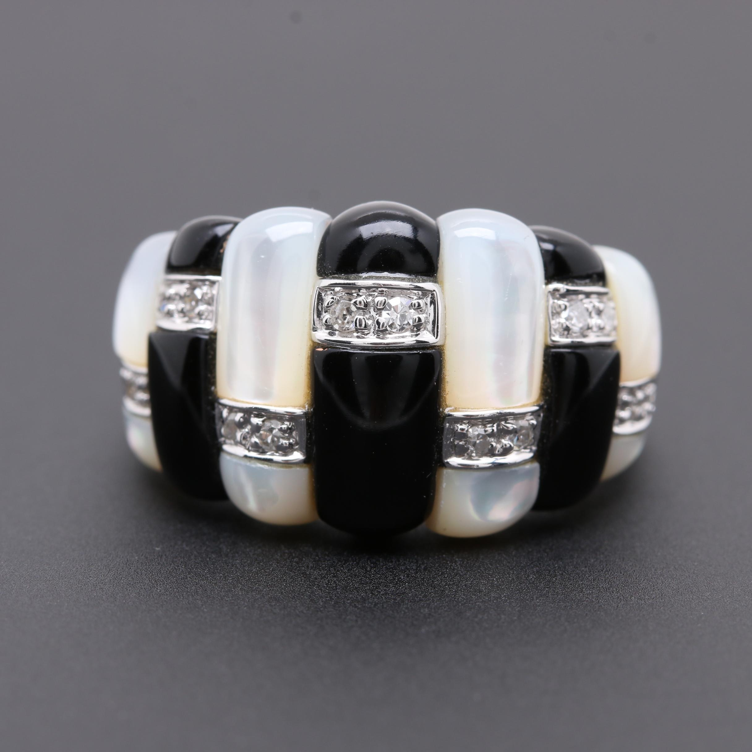 14K White Gold Mother of Pearl, Black Onyx and Diamond Dome Ring